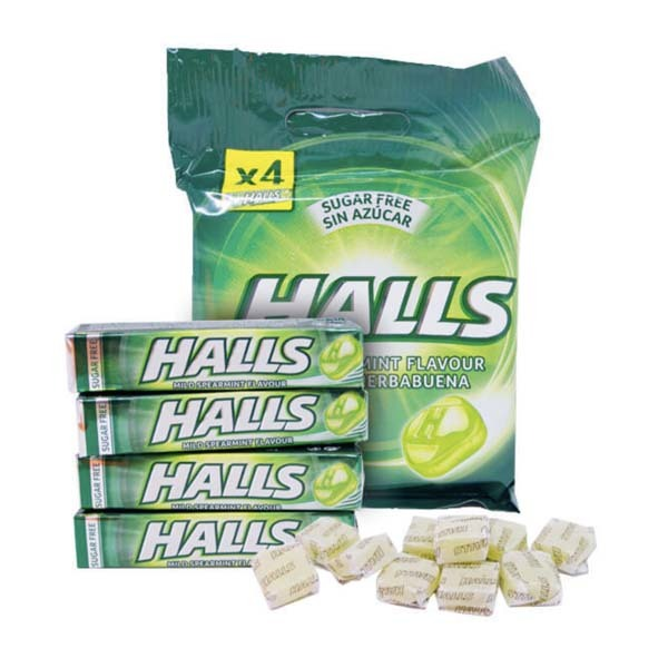HALLS SPEARMINT SUGAR FREE 24 X 4-PACK X 32G