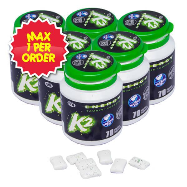 K2 Energy Tuggummi – 100g x 6 st – MAX 1