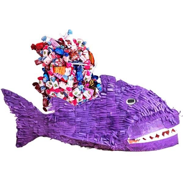 PIÑATA FISK LILA + 1 kg godis