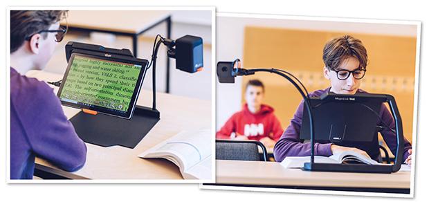 Kollage där ena bilden visar elev som tittar på skärmen hos MagniLink TAB där förstorad text syns. Den andra bilden visar eleven i klassrummet när han använder MagniLink TABs avståndskamera.