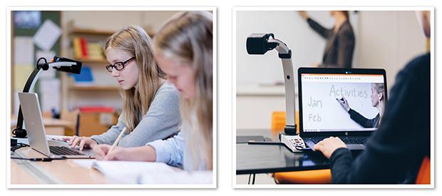 Kollage där ena bilden visar två flickor som sitter i bänkarna i klassrummet och arbetar. Den ena eleven använder dator och MagniLink S Premium 2. Den andra bilden visar hur en elev använder avståndskameran för att se vad läraren skriver på tavlan.