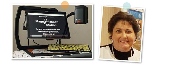 One picture of MagniLink TAB with text about Magnification station on the screen. Another picture of Julie Akers.