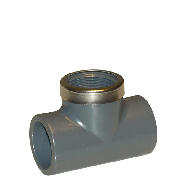 PVC T-rör inv. limn. x inv. gängat avst. med först.ring