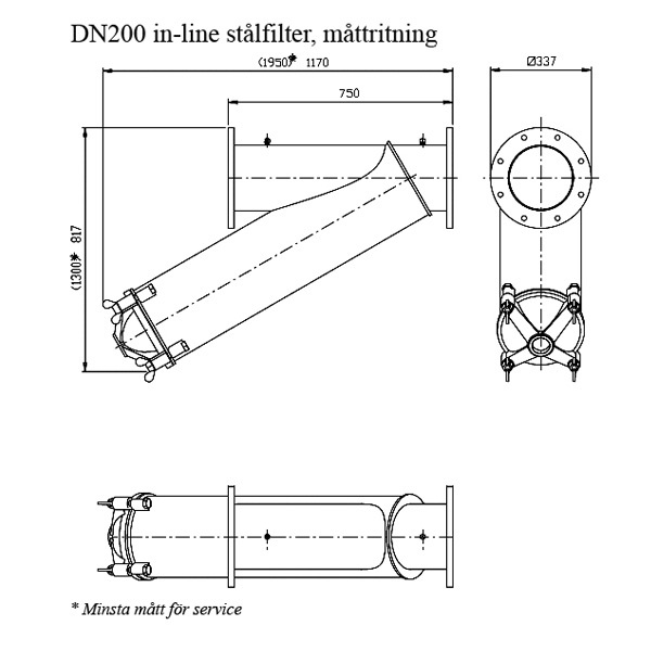 Amiad stålfilter DN200 In-line