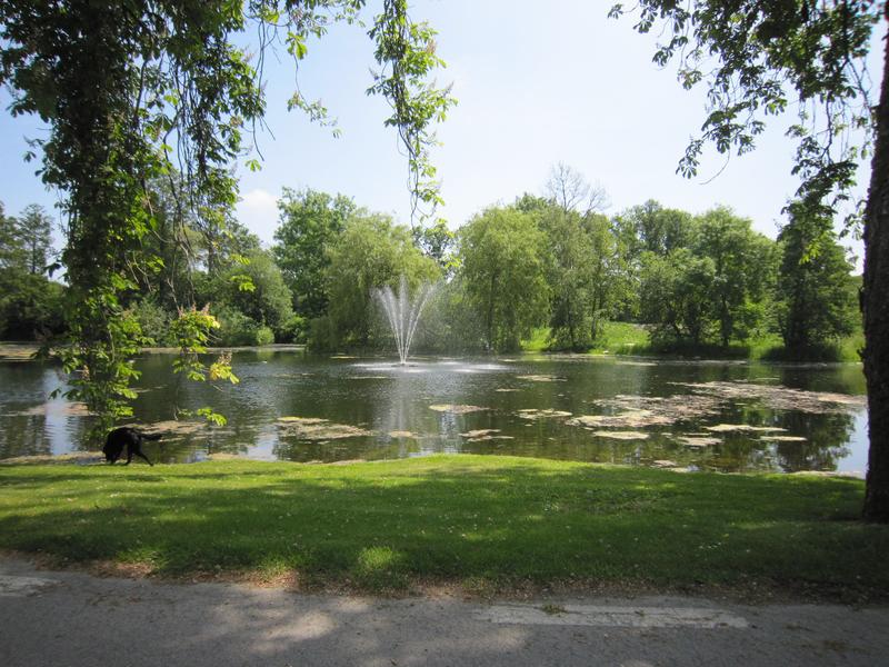 En flytande fontän från Kasco i en damm i en park.