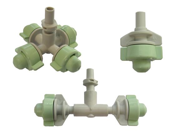 Coolnet Pro finns i tre olika utföranden:kors med 4 munstycken,T med 2 munstyckeneller enkeldysa