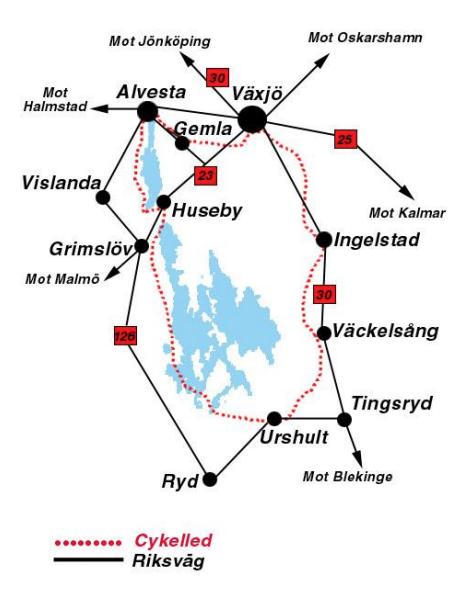 Karta över Åsnen runt