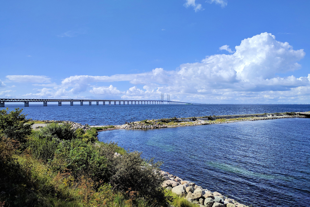 View from Malmö beach towards Öresundsbridge.