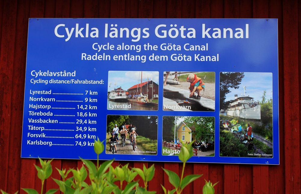 Rekommenderar cykelled vid Göta kanal