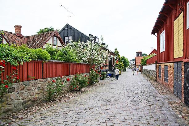 Cycling in Åhus city center.