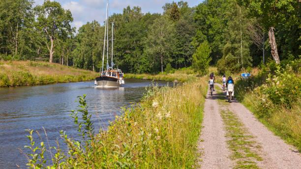 Cycling along Göta kanal, bike rental at Töreboda.