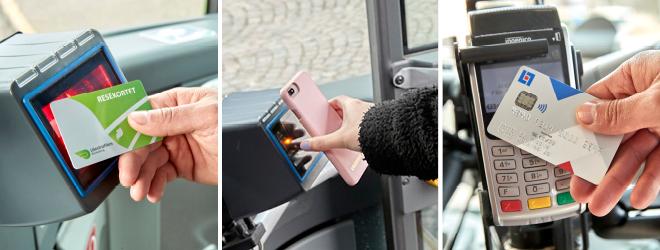 Resekort och mobilbiljett ska valideras genom att hållas upp nya läsaren. Köp med betalkort ska göras i betalkortsterminalen.