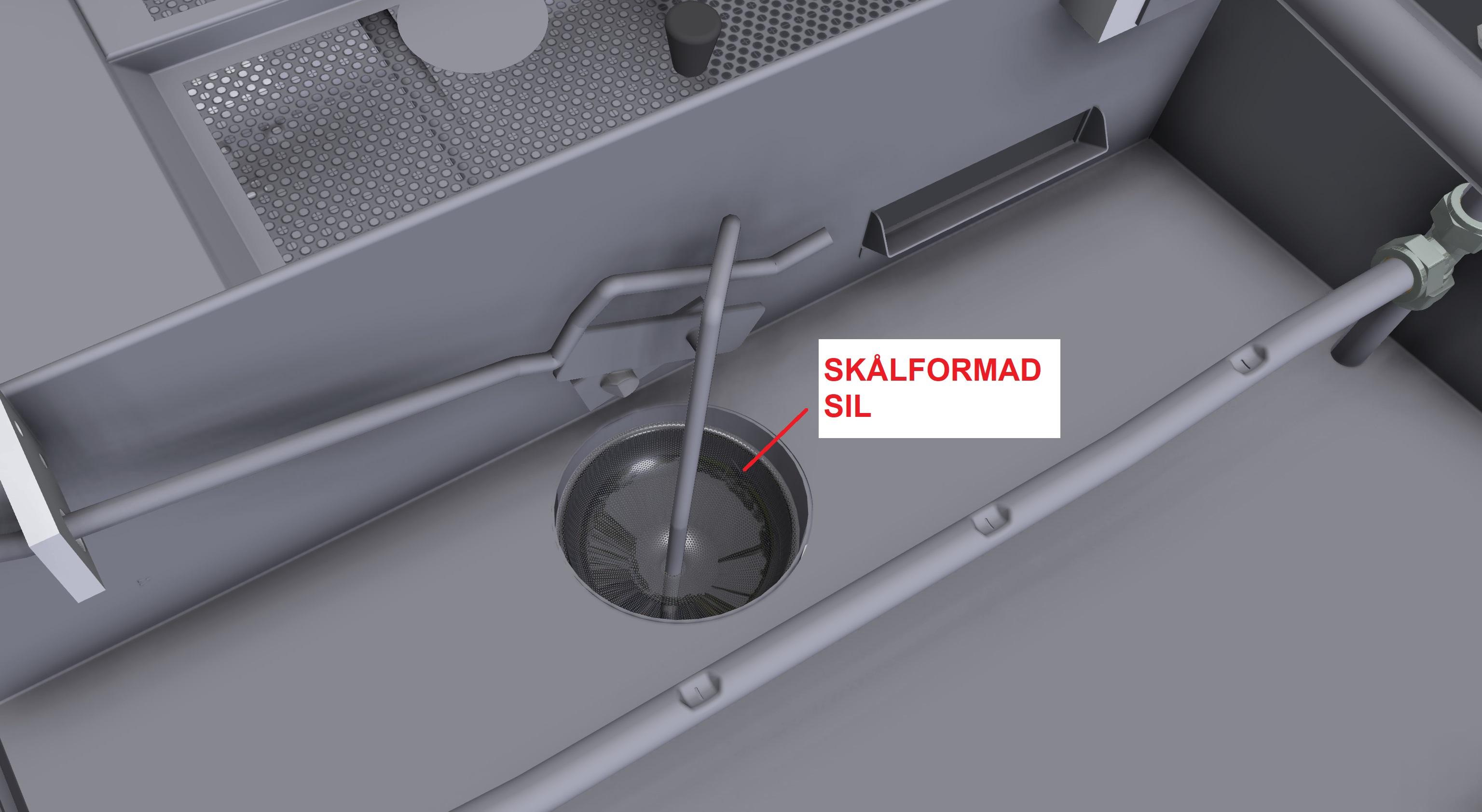 ritning av tvättmaskin med illustrering av problemområde skålformad sil