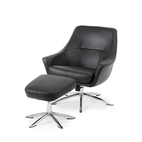 Möbelform Glimma Fåtölj +pall läder