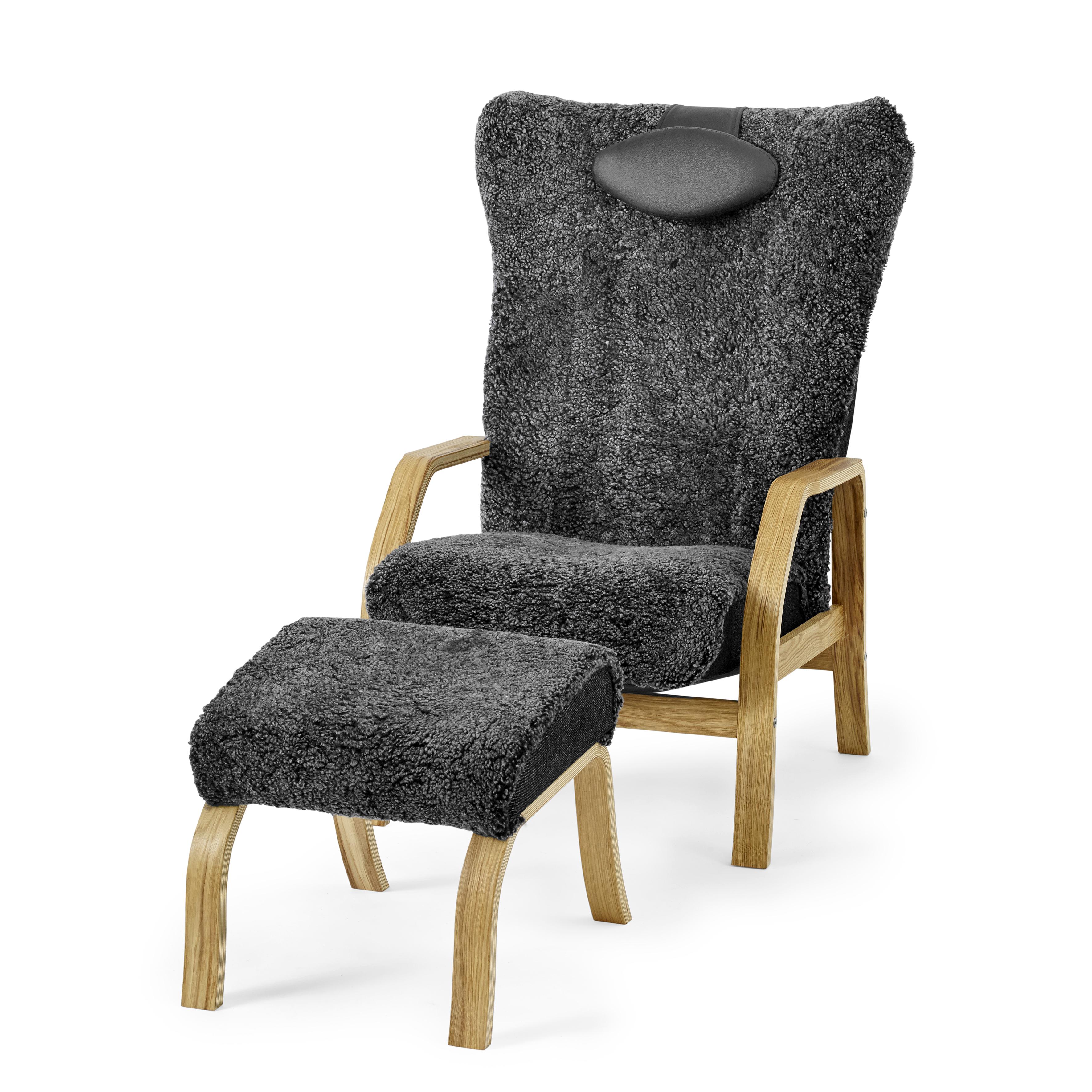 Möbelform Åre fårskinnsfåtölj+pall antracit