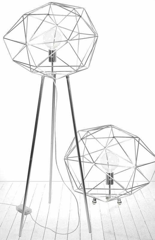Globen Diamond golv lampa krom