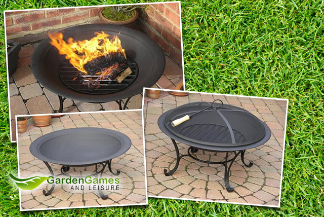 £59.99 instead of £149.99 (from Garden Games & Leisure) for a black steel outdoor fire pit inc. grate, cover & poker - save 60% + FREE DELIVERY