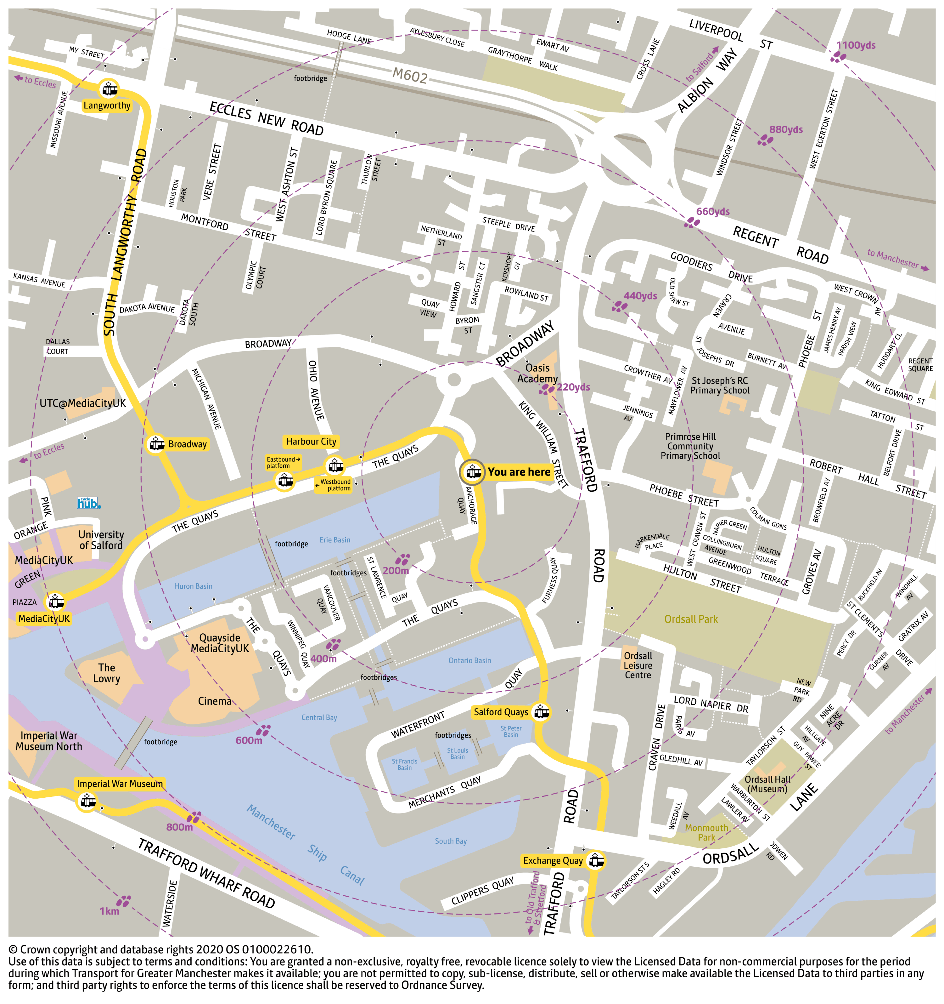 Local area map for Anchorage tram stop