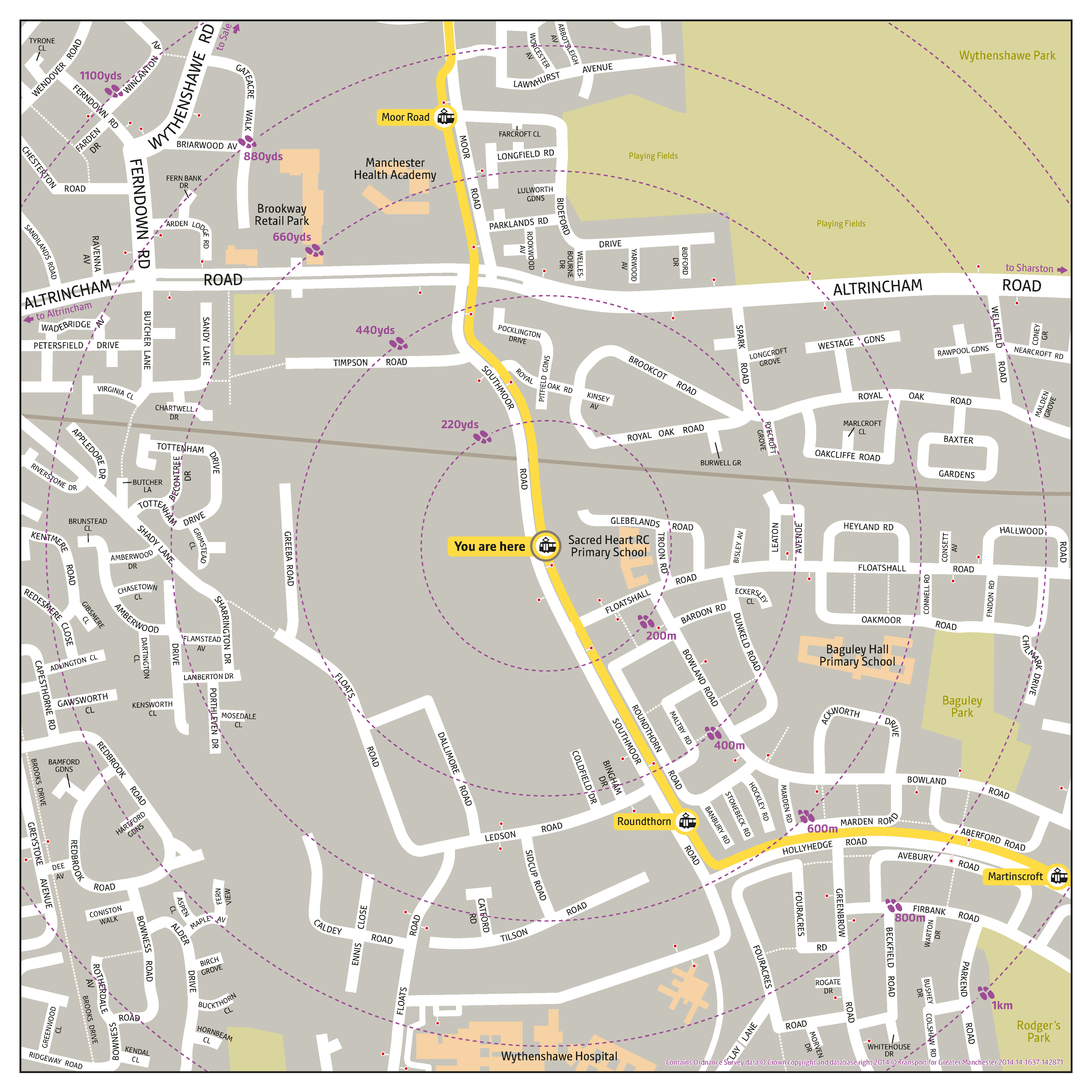 Local area map for Baguley tram stop