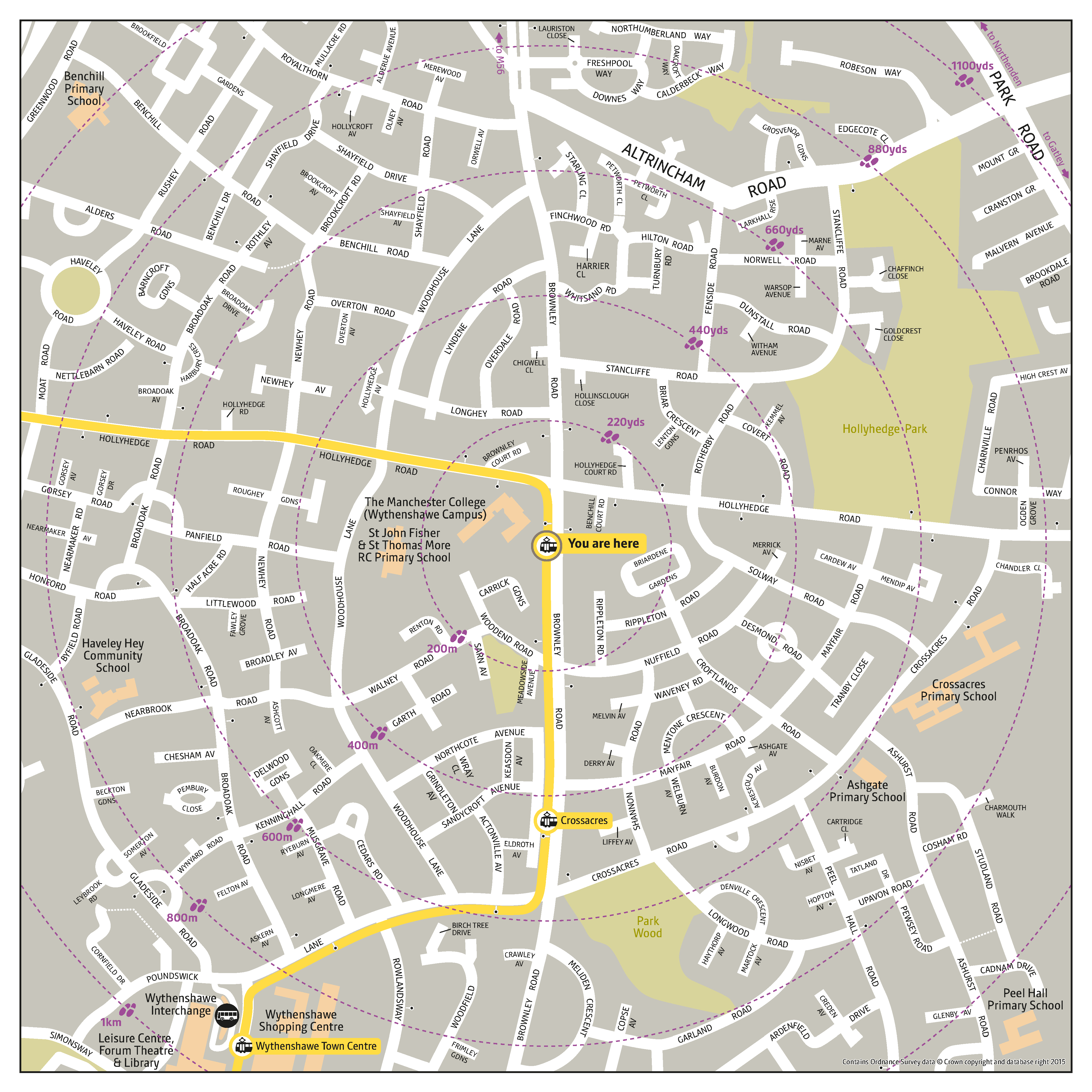 Local area map for Benchill tram stop