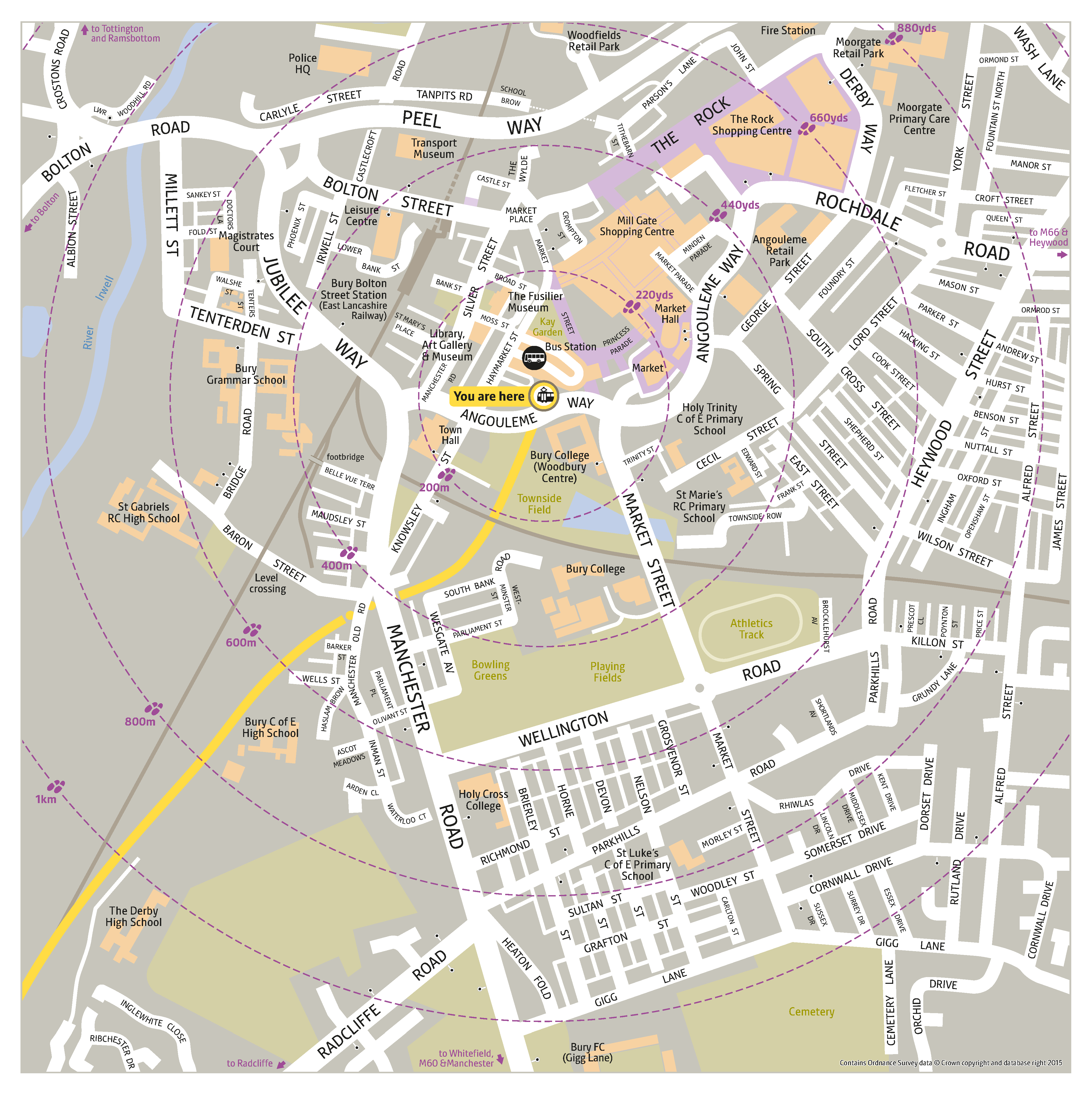 Local area map for Bury tram stop