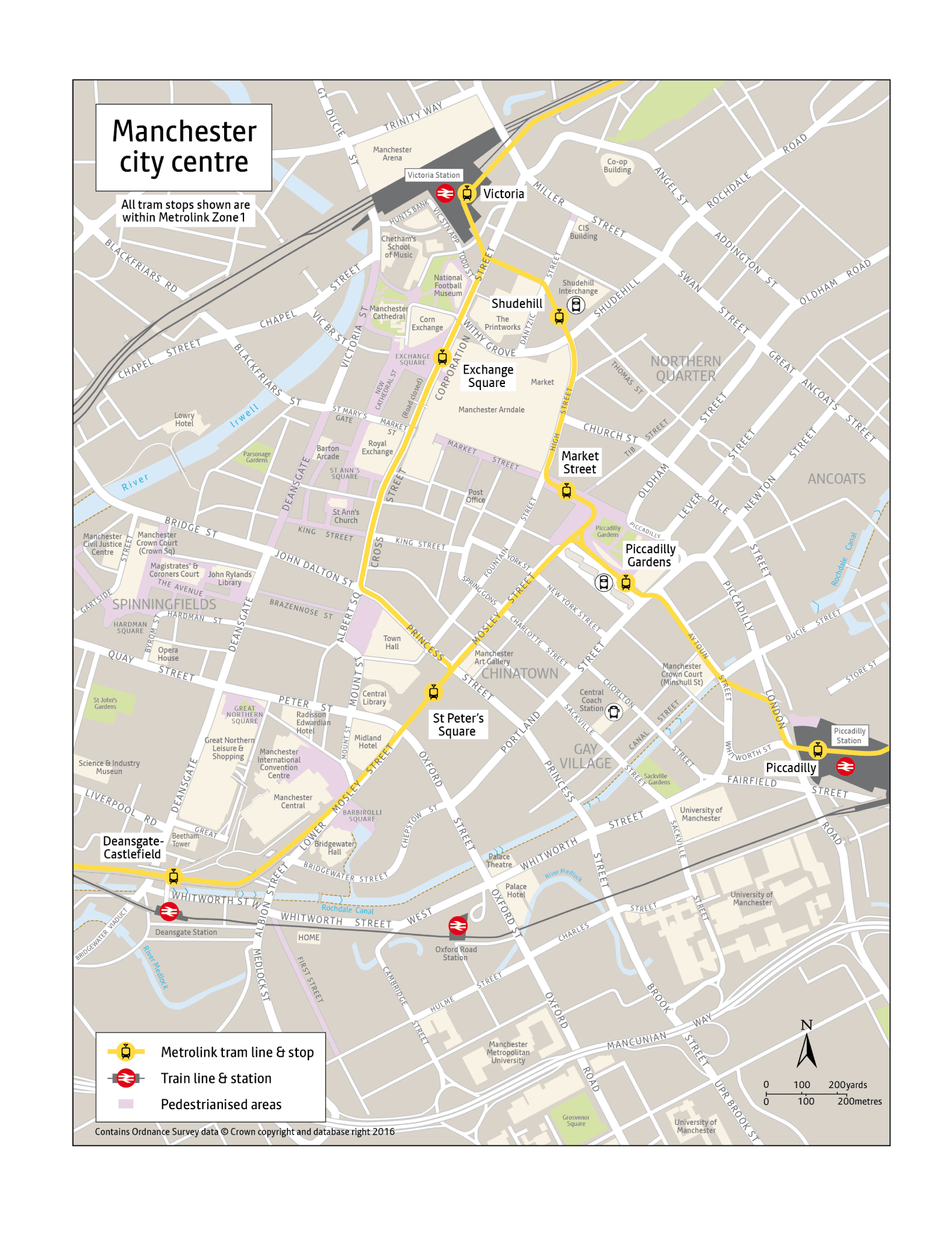 Local area map for Exchange Square tram stop