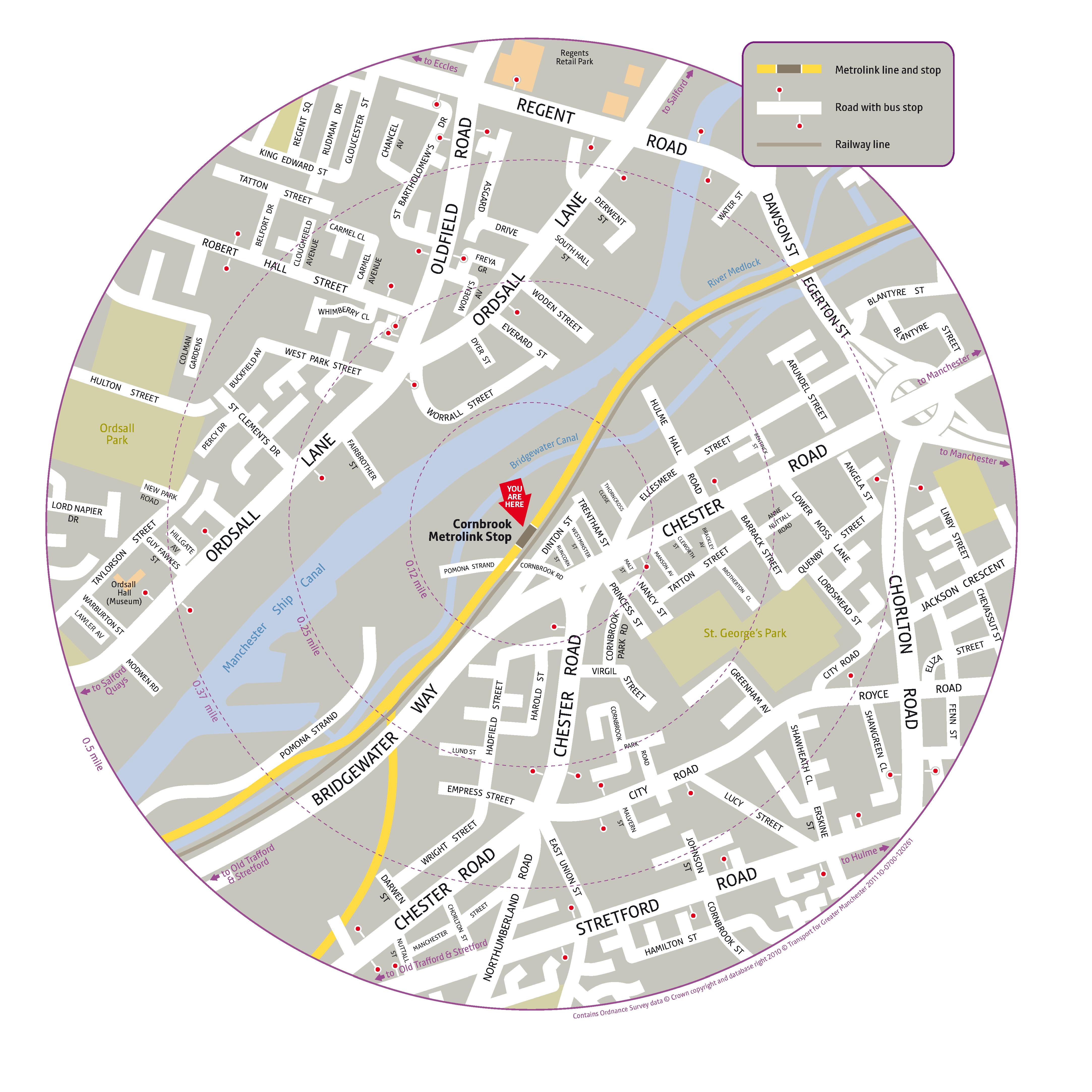 Local area map for Cornbrook tram stop