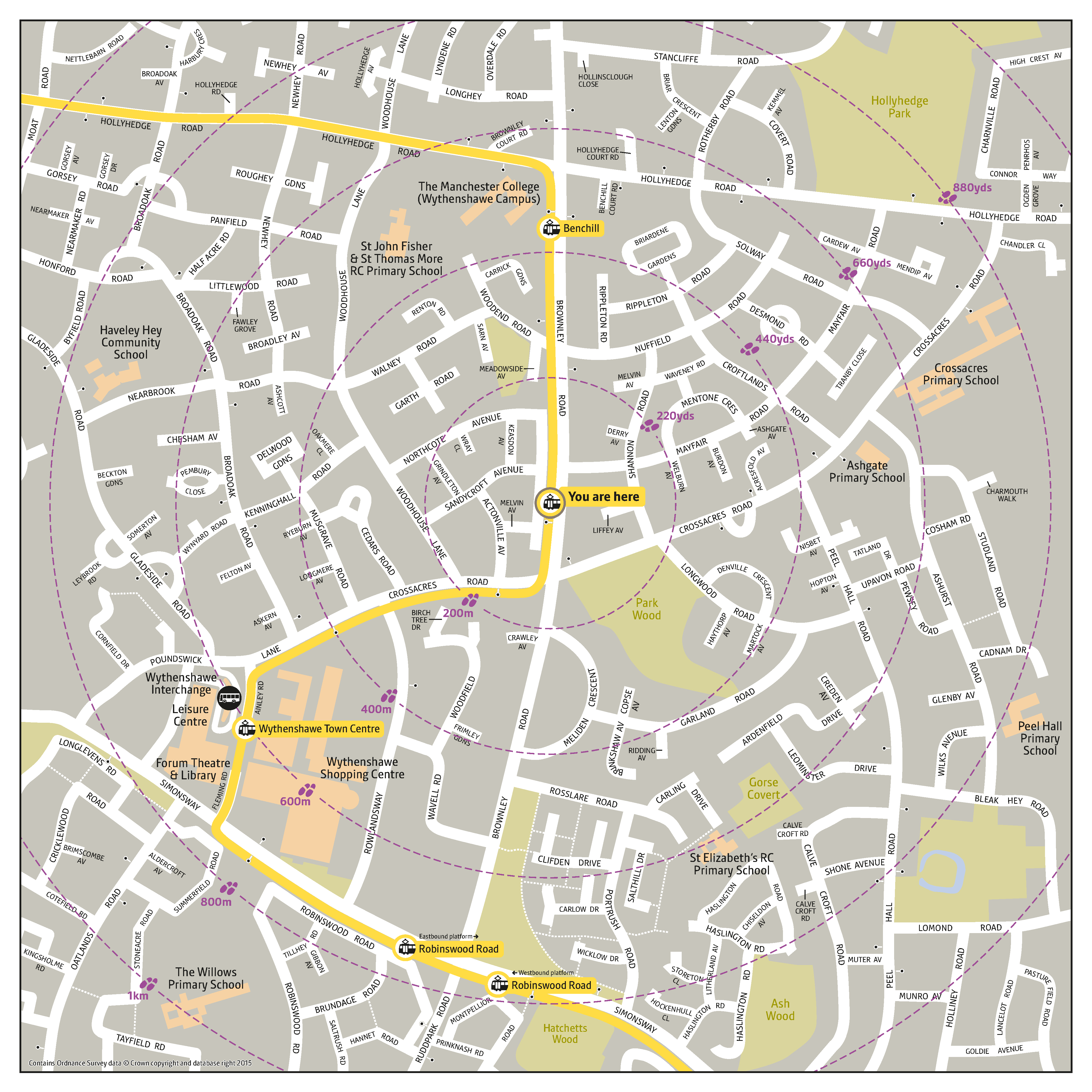 Local area map for Crossacres tram stop