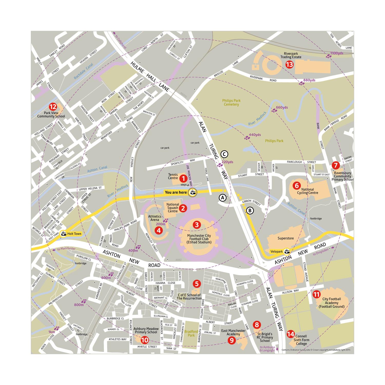 Local area map for Etihad Campus tram stop