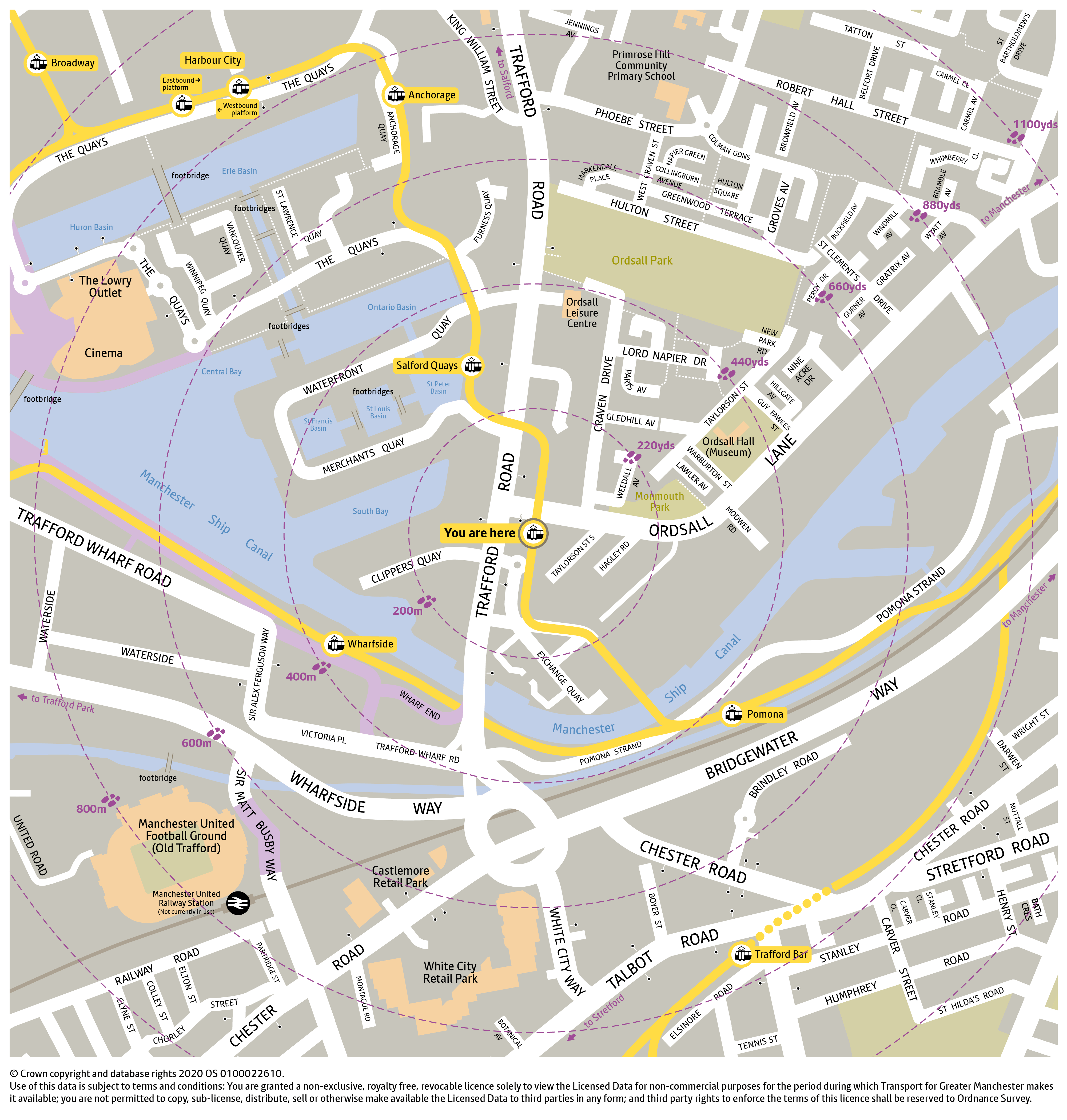 Local area map for Exchange Quay tram stop