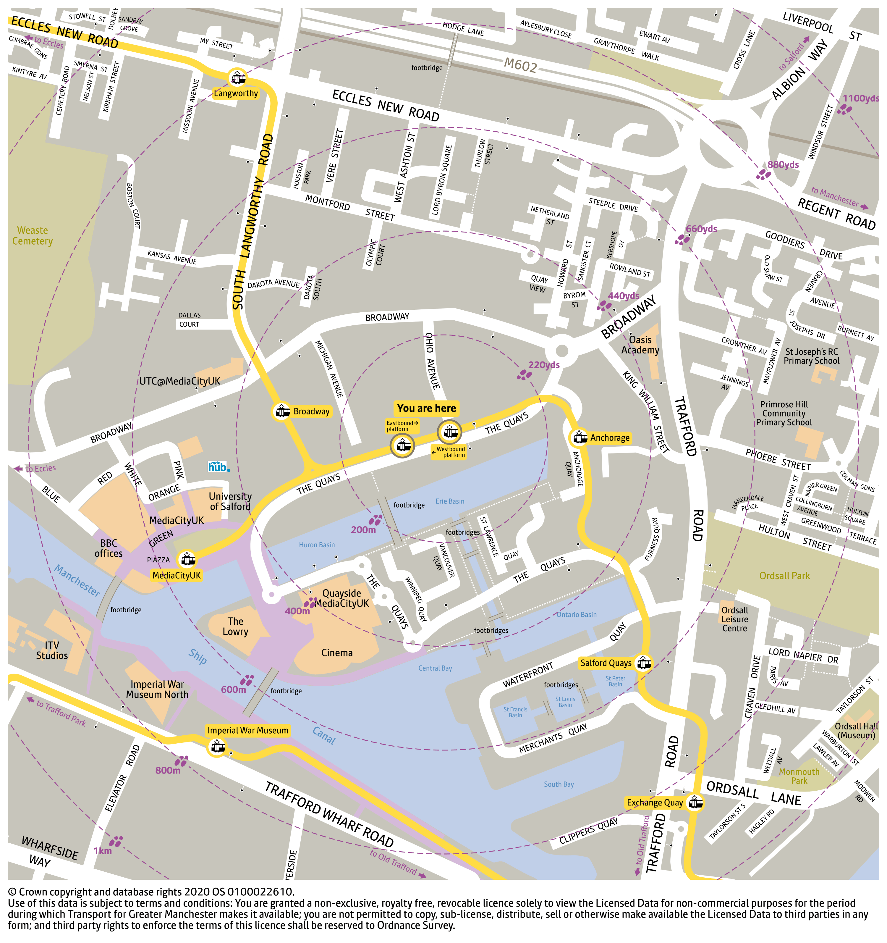 Local area map for Harbour City tram stop