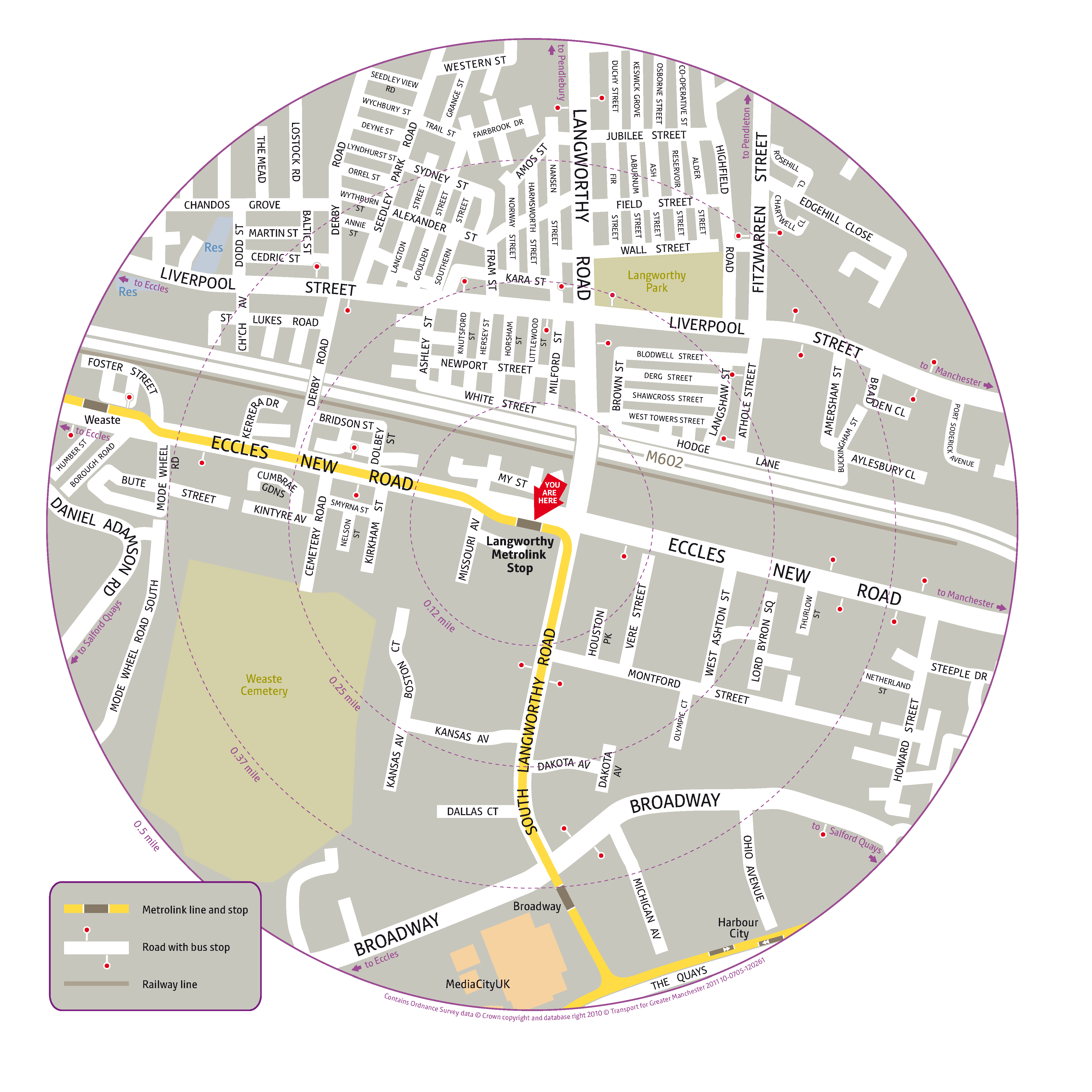 Local area map for Langworthy tram stop