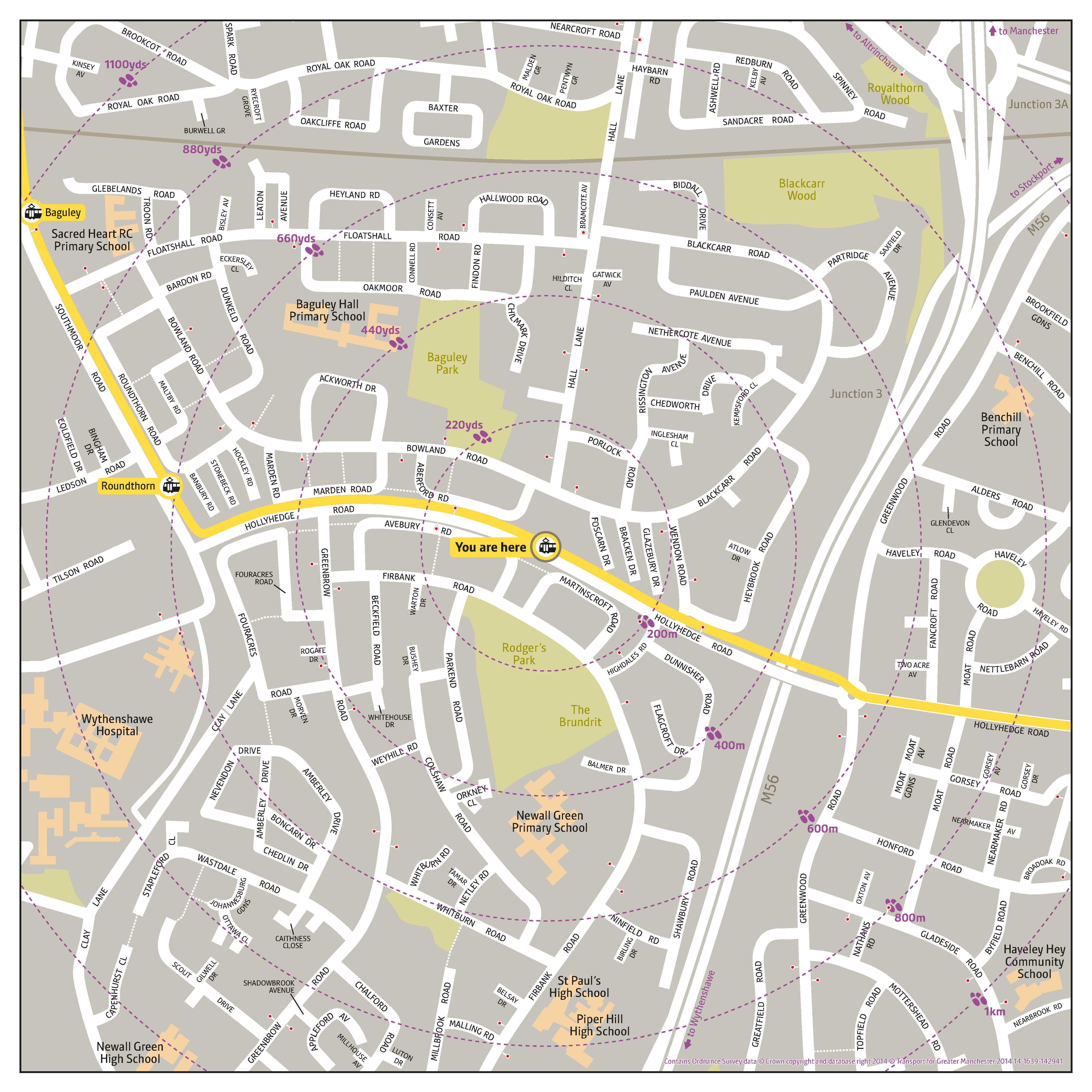 Local area map for Martinscroft tram stop