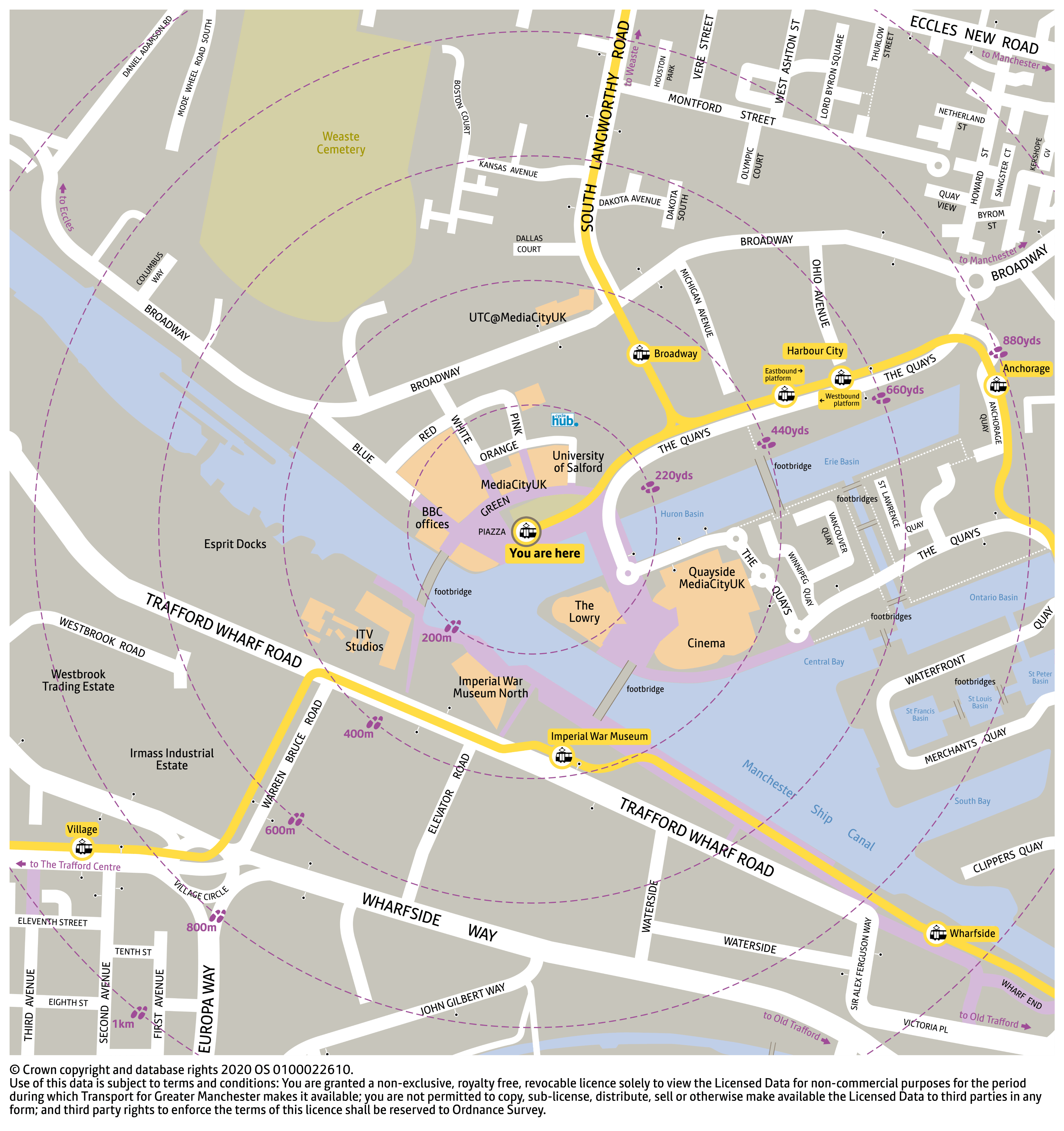 Local area map for MediaCityUK tram stop