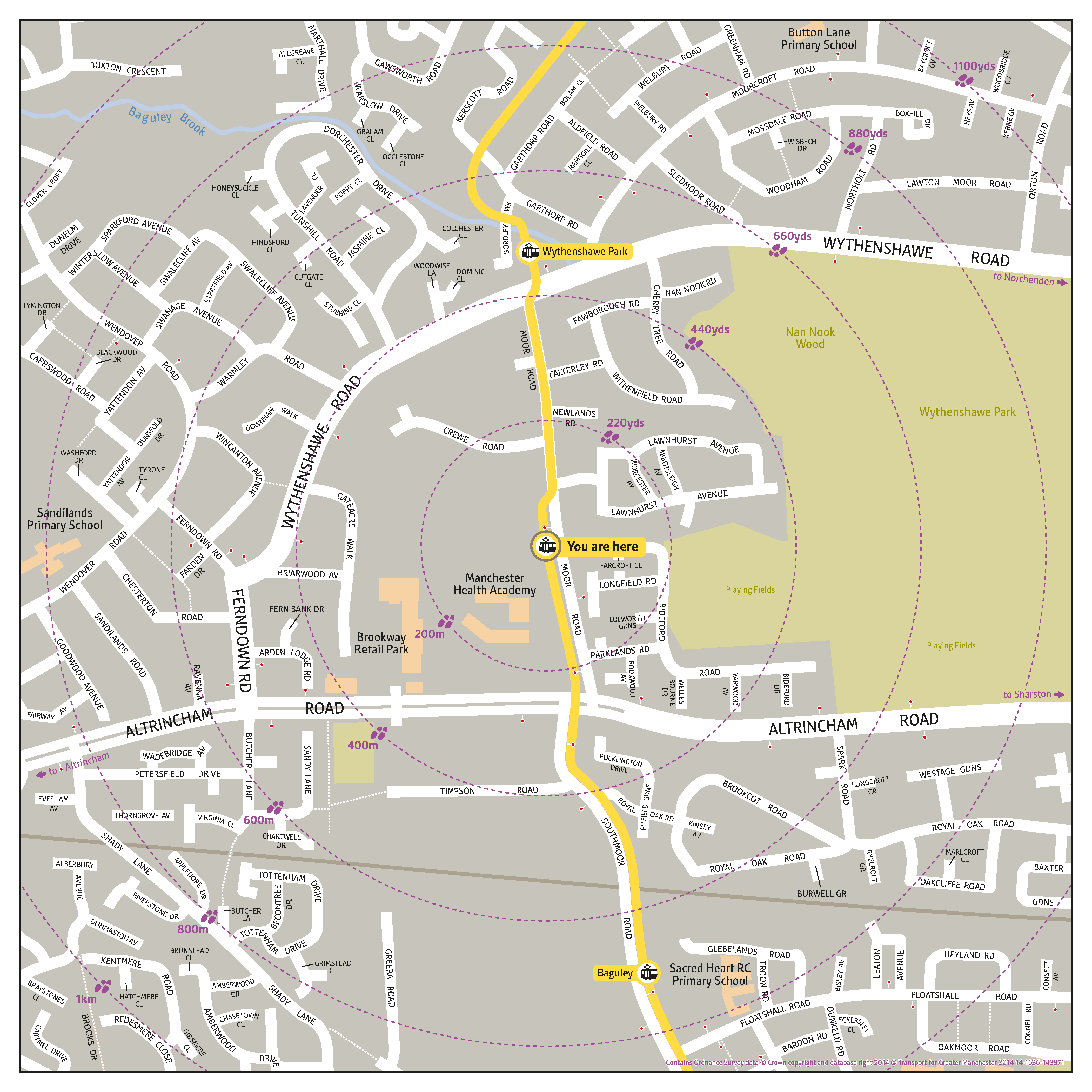 Local area map for Moor Road tram stop