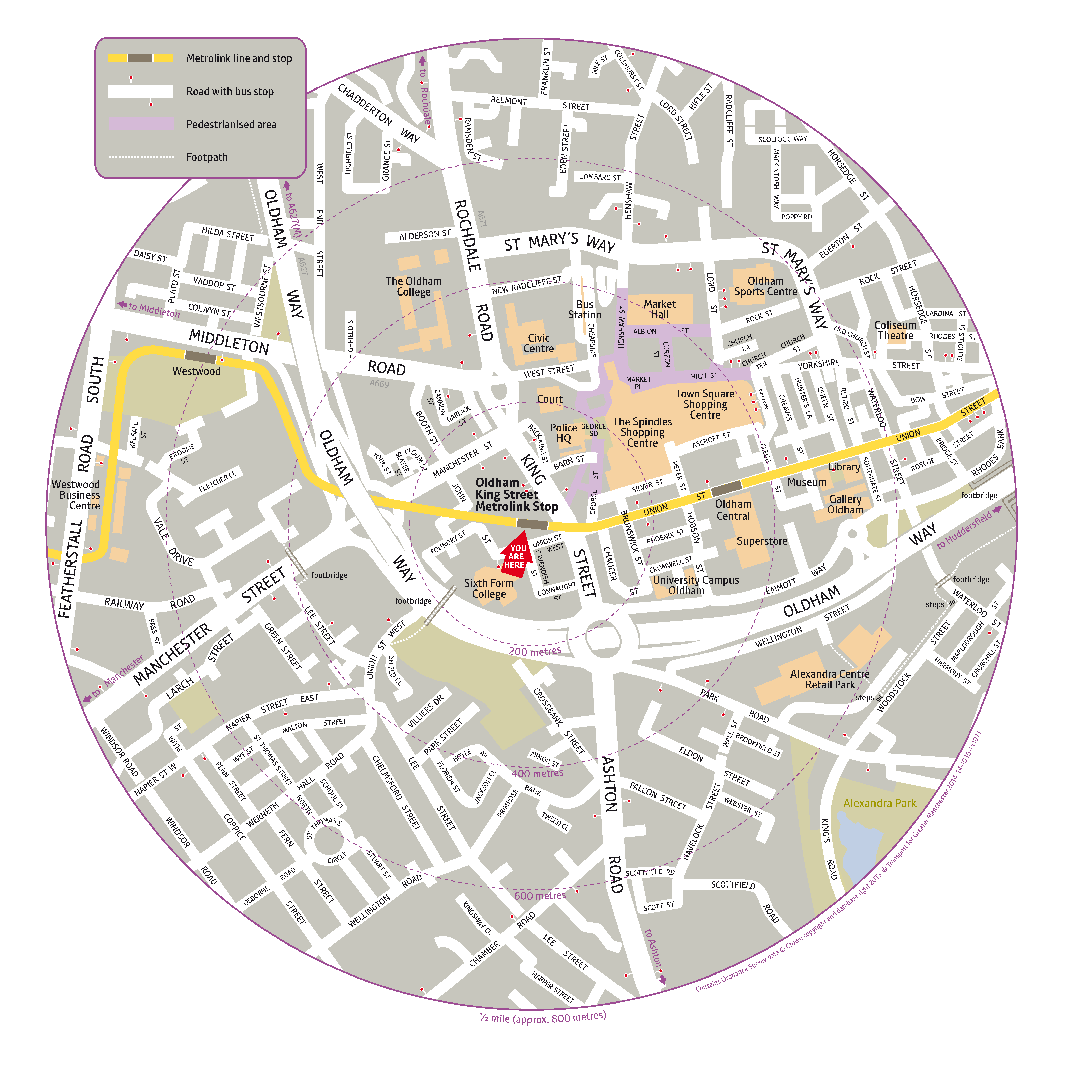 Local area map for Oldham King Street tram stop
