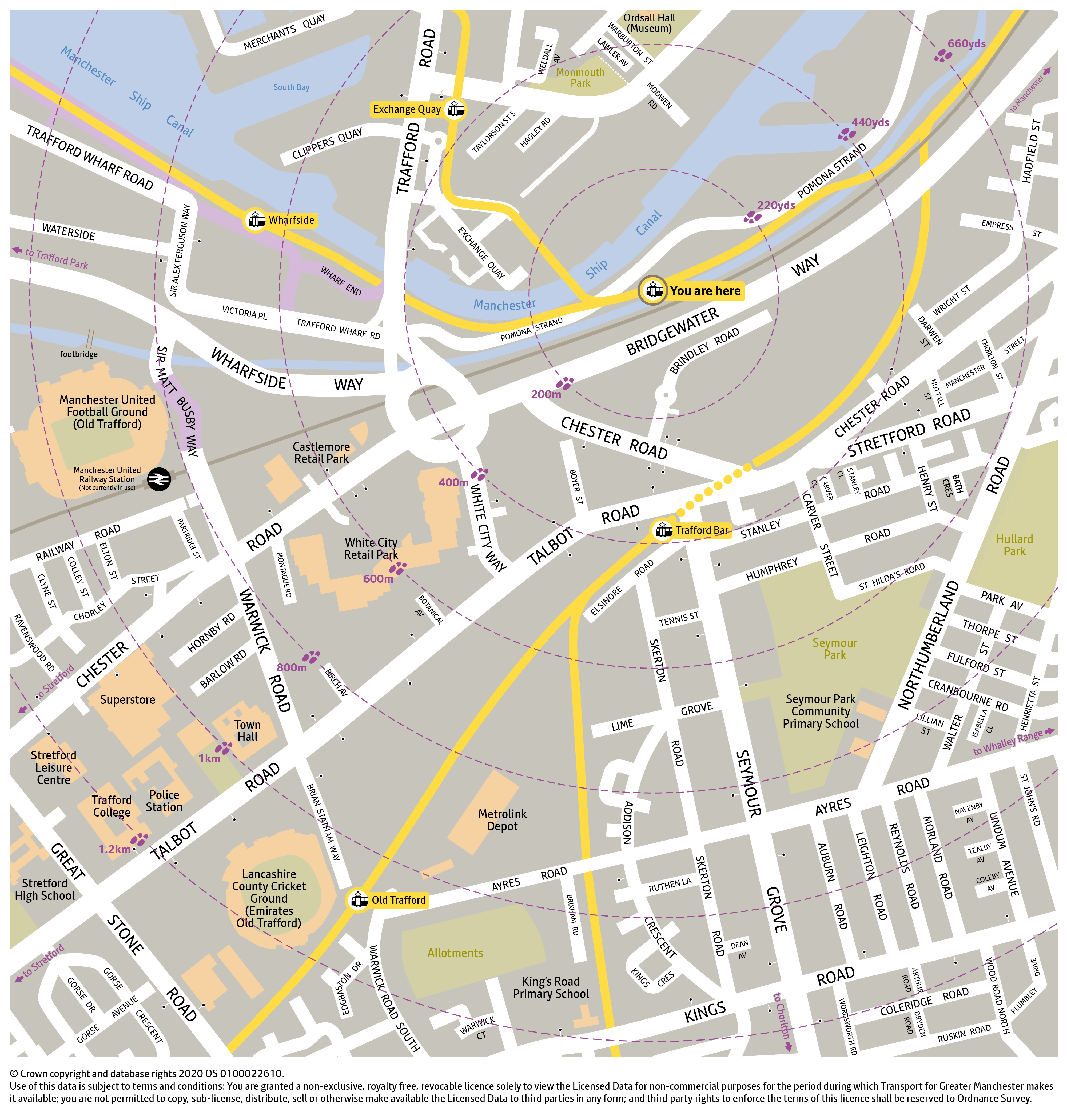 Local area map for Pomona tram stop