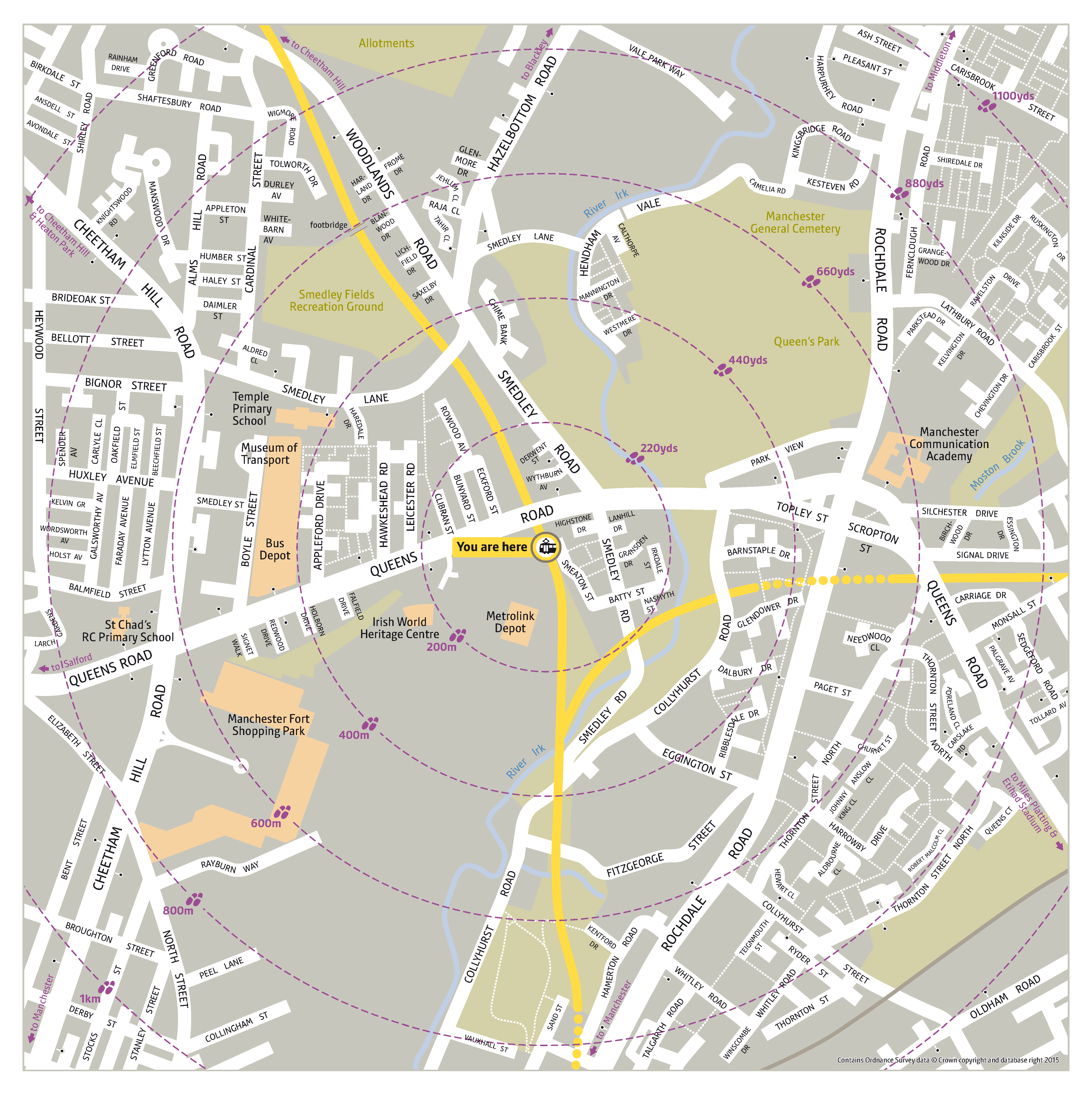 Local area map for Queens Road tram stop