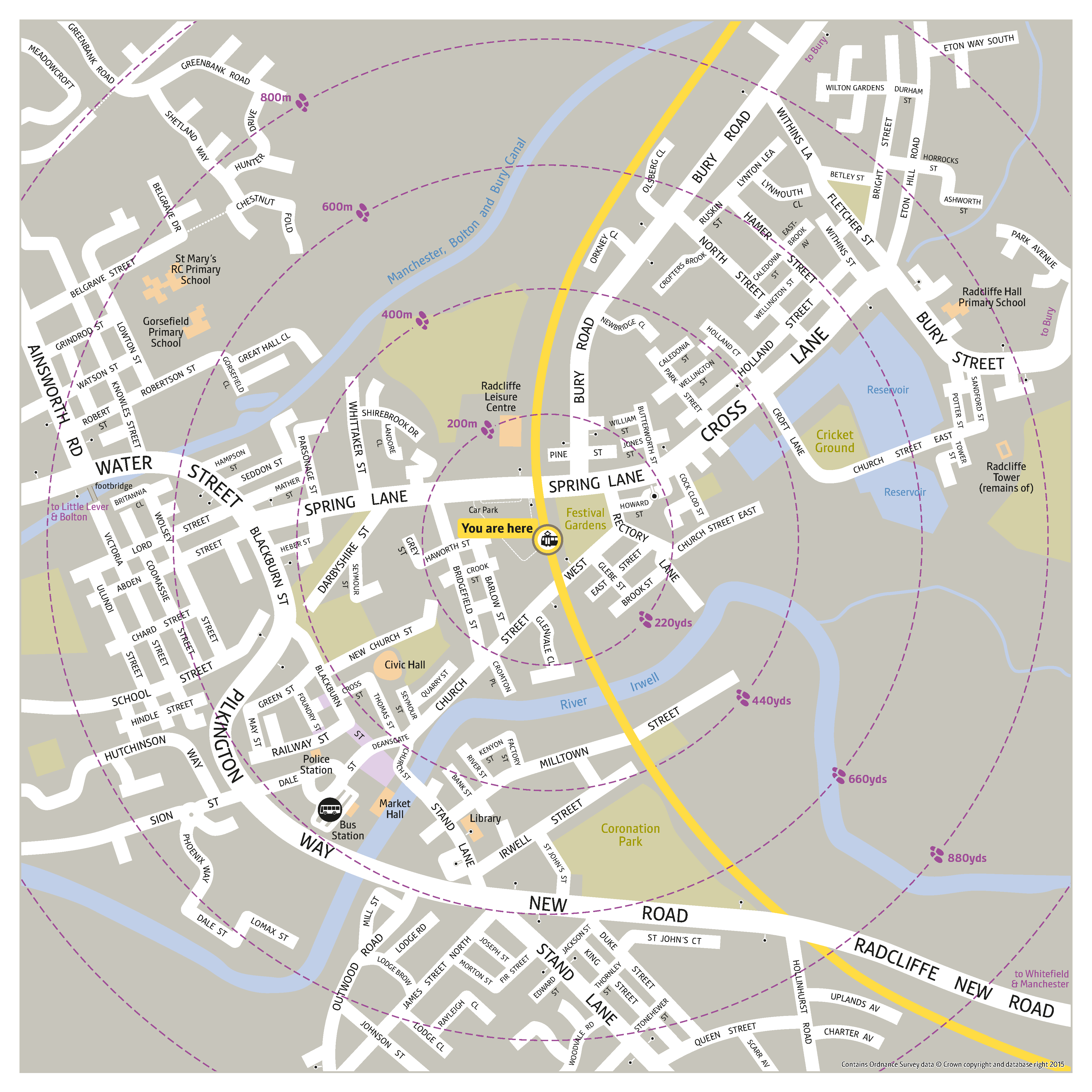 Local area map for Radcliffe tram stop