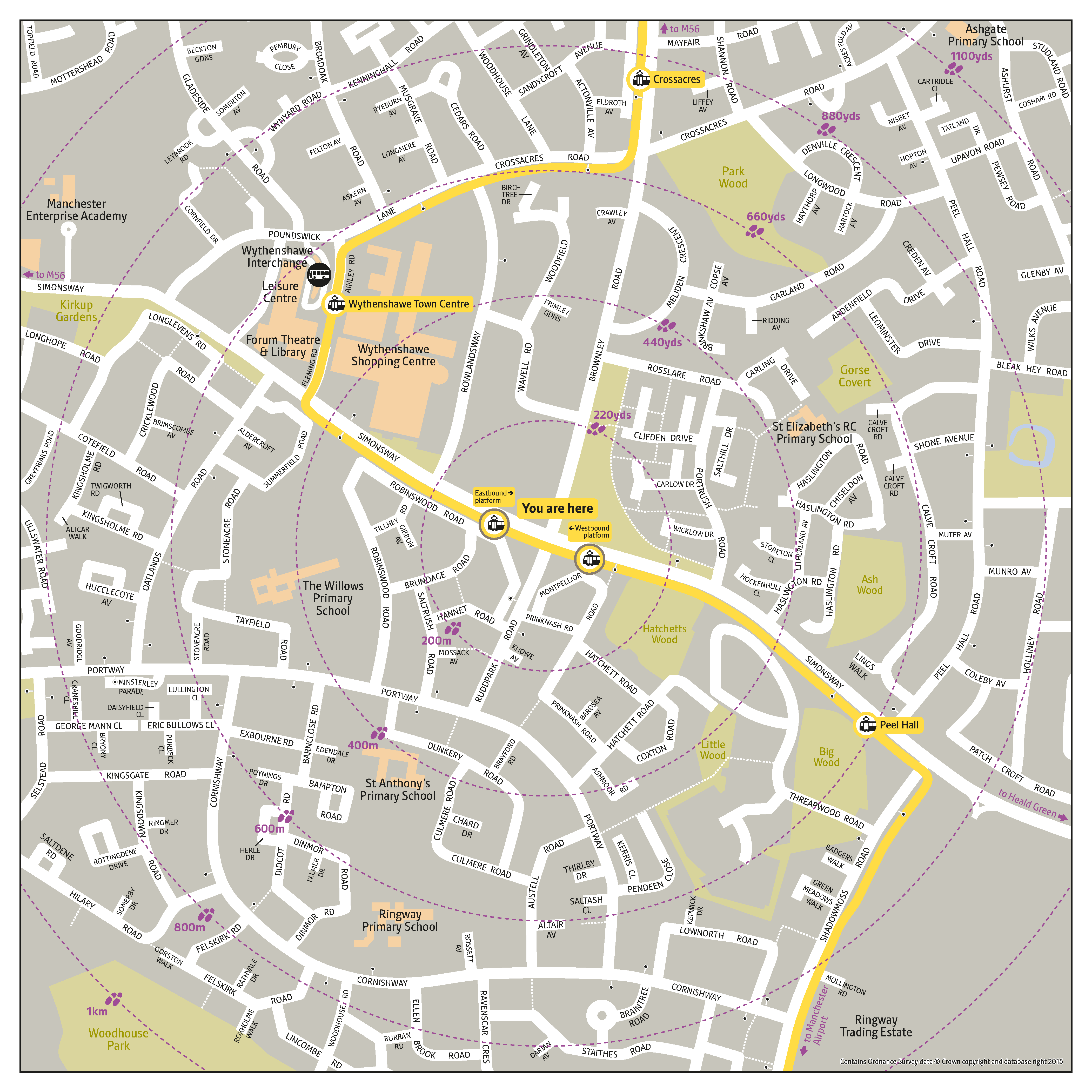 Local area map for Robinswood Road tram stop
