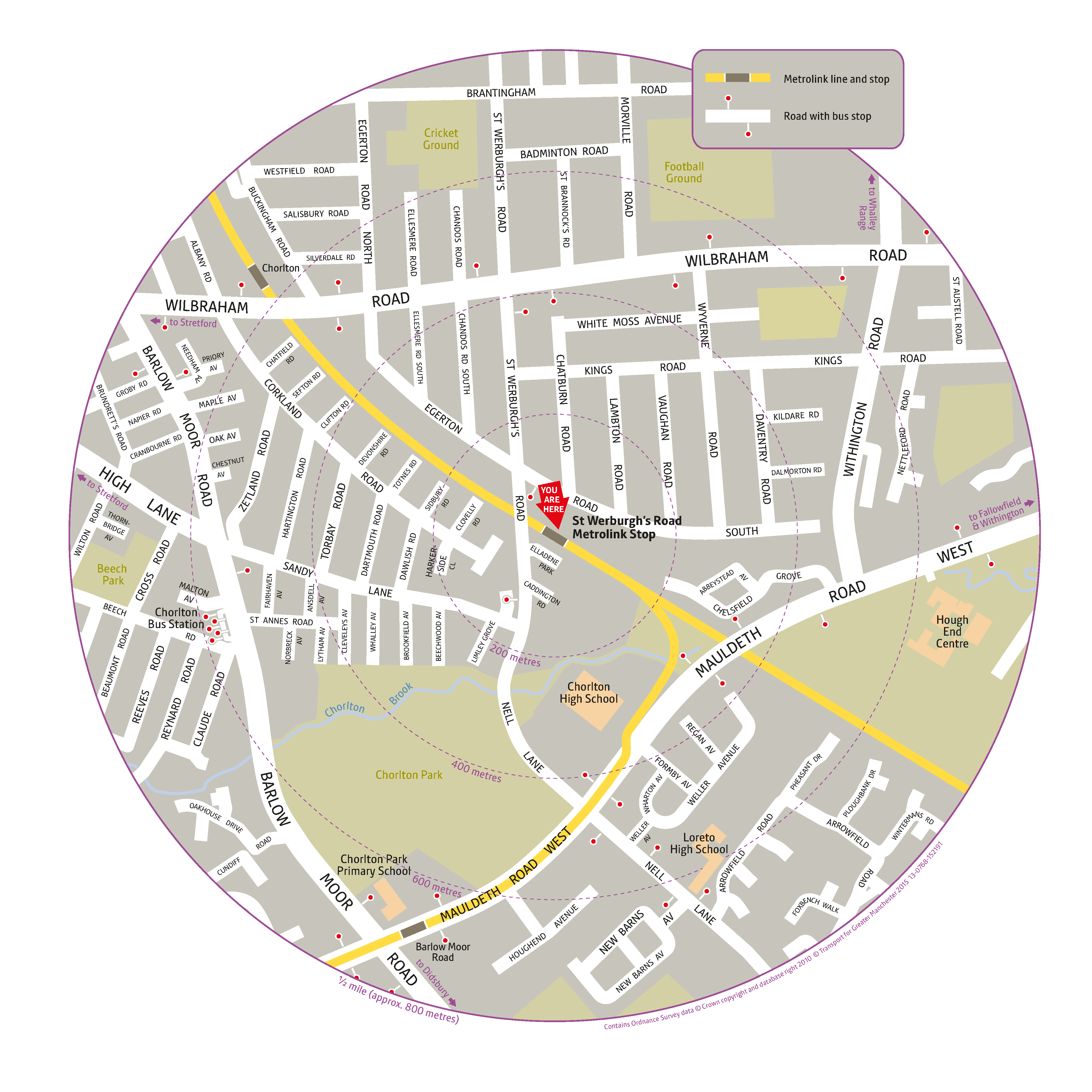 Local area map for St Werburgh's Road tram stop
