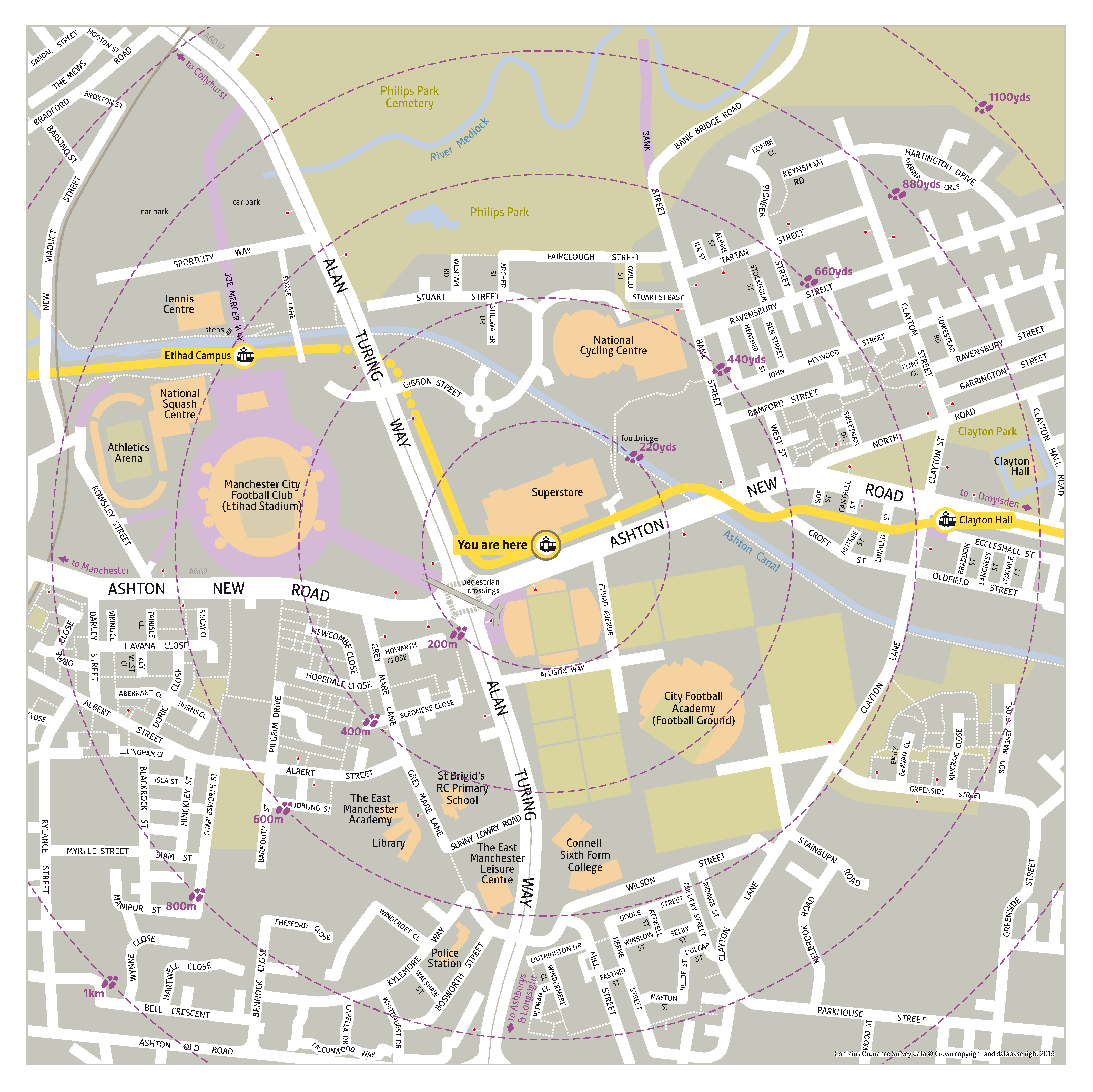 Local area map for Velopark tram stop