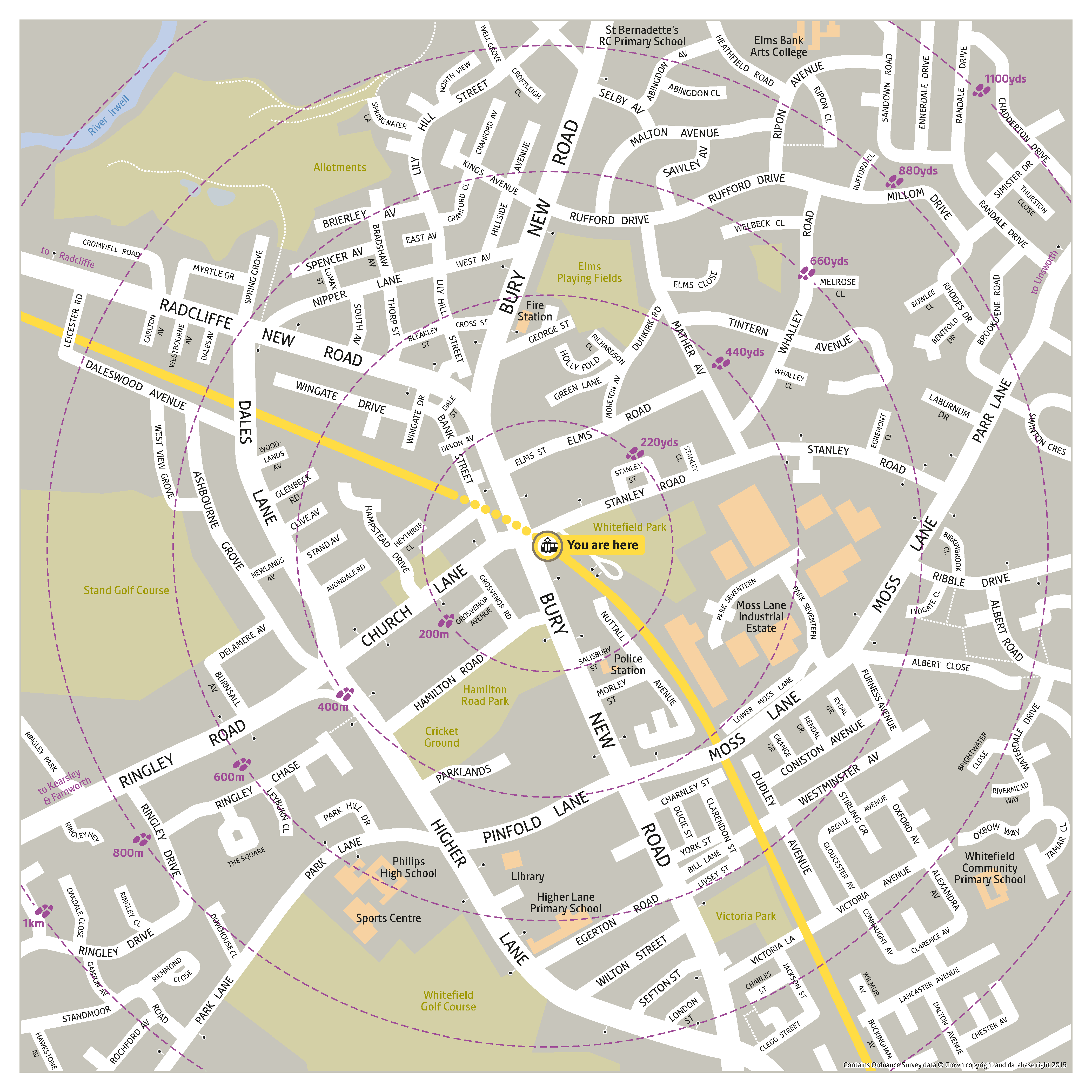 Local area map for Whitefield tram stop