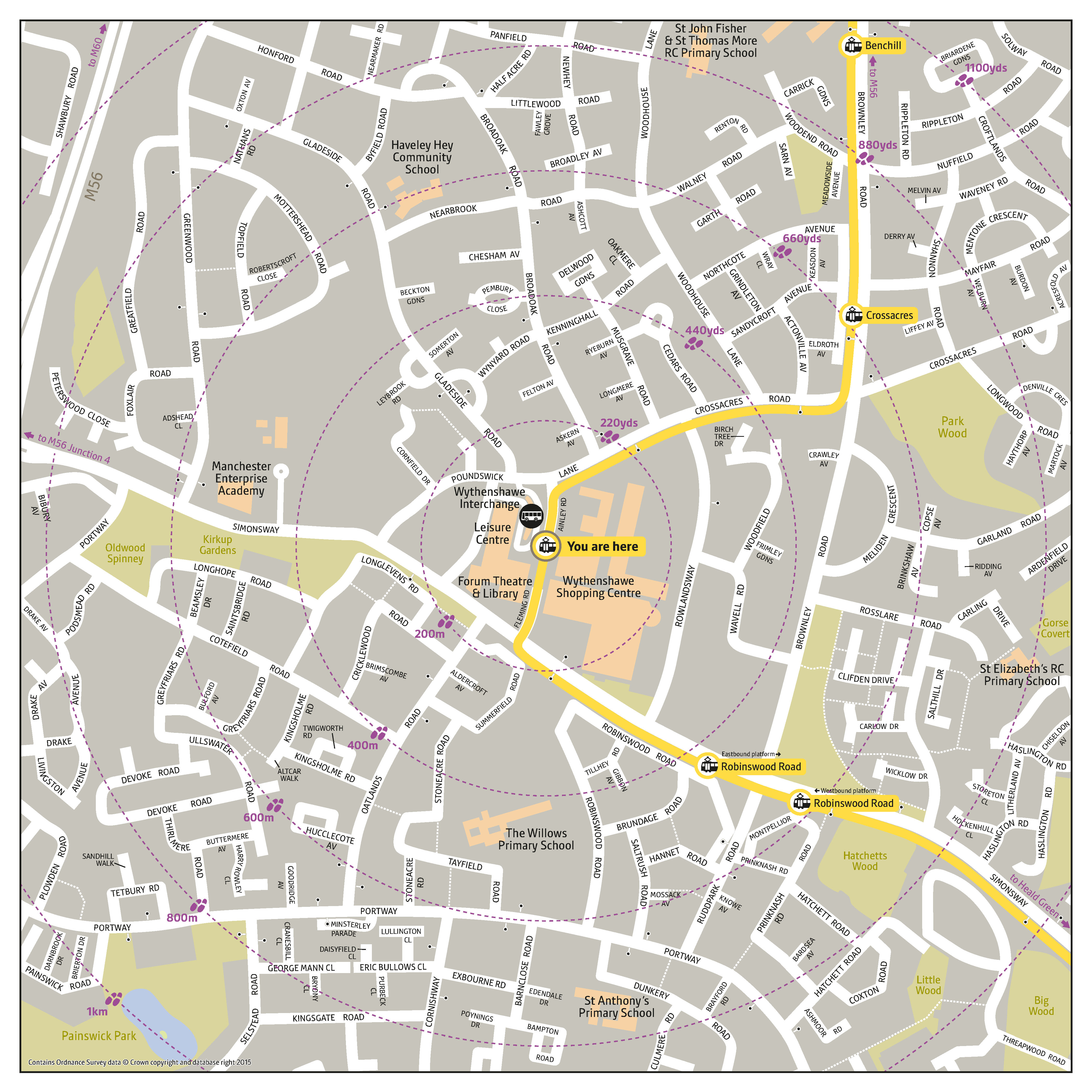 Local area map for Wythenshawe Town Centre tram stop