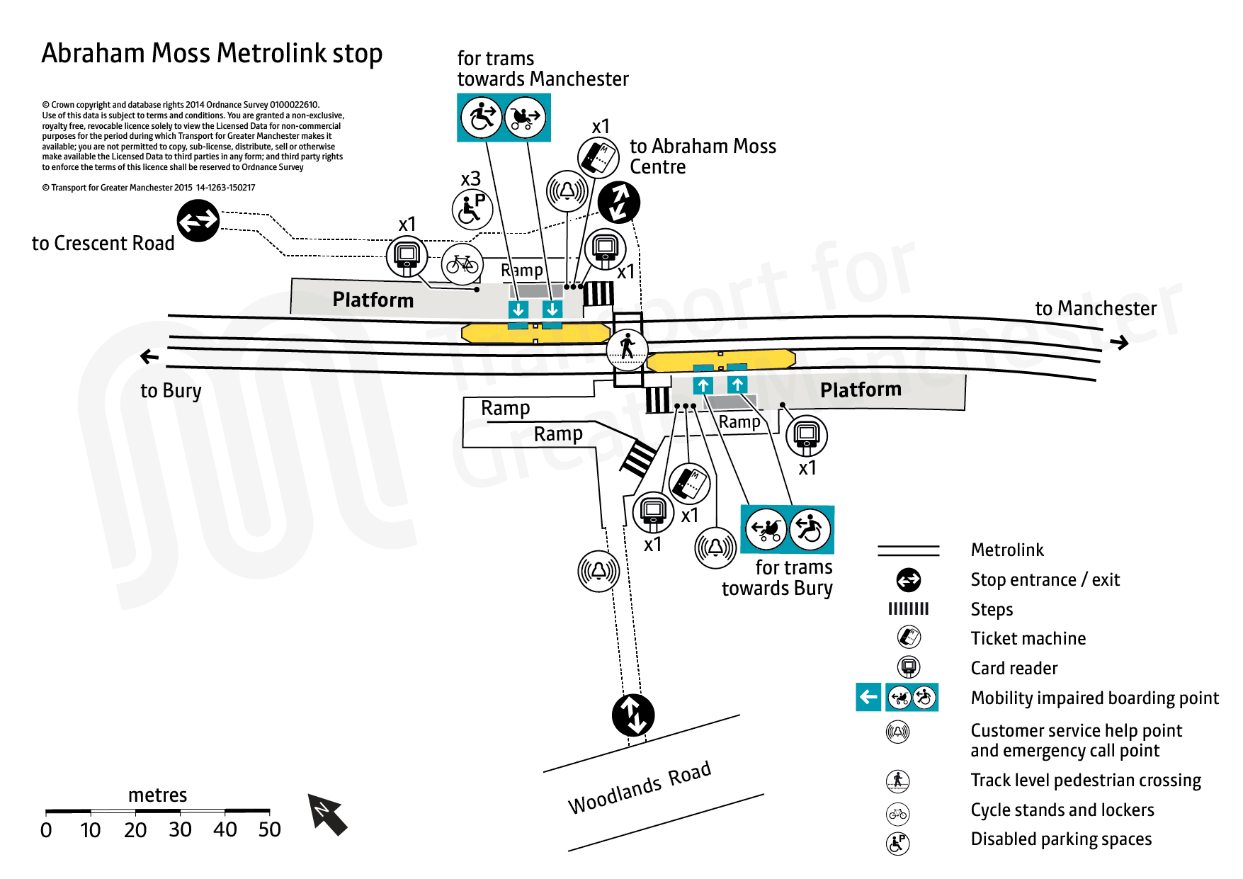 Stop map for Abraham Moss tram stop