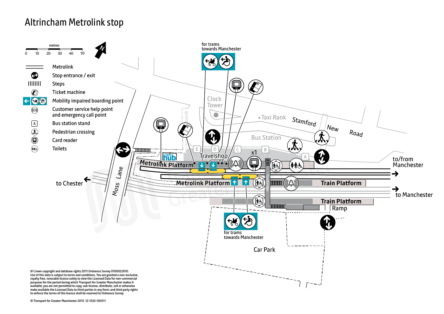 Stop map for Altrincham tram stop