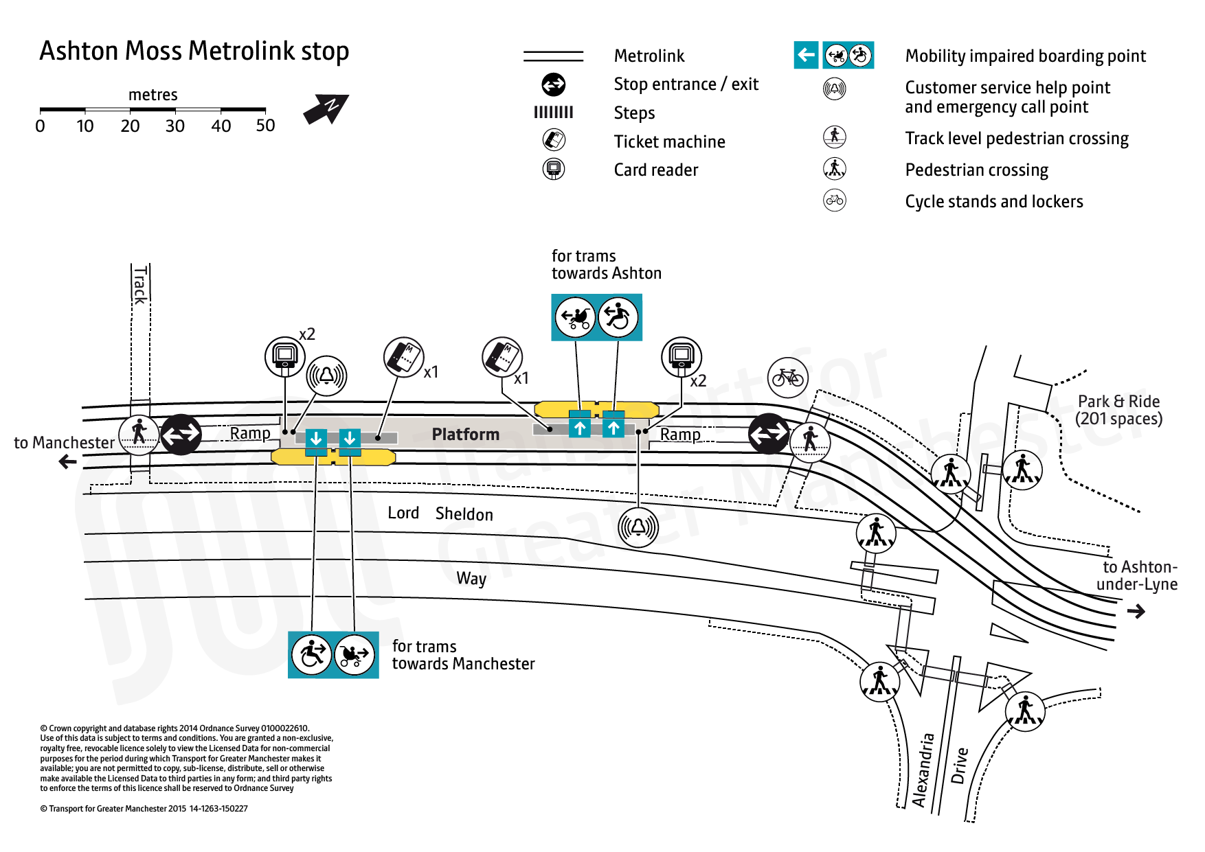 Stop map for Ashton Moss tram stop