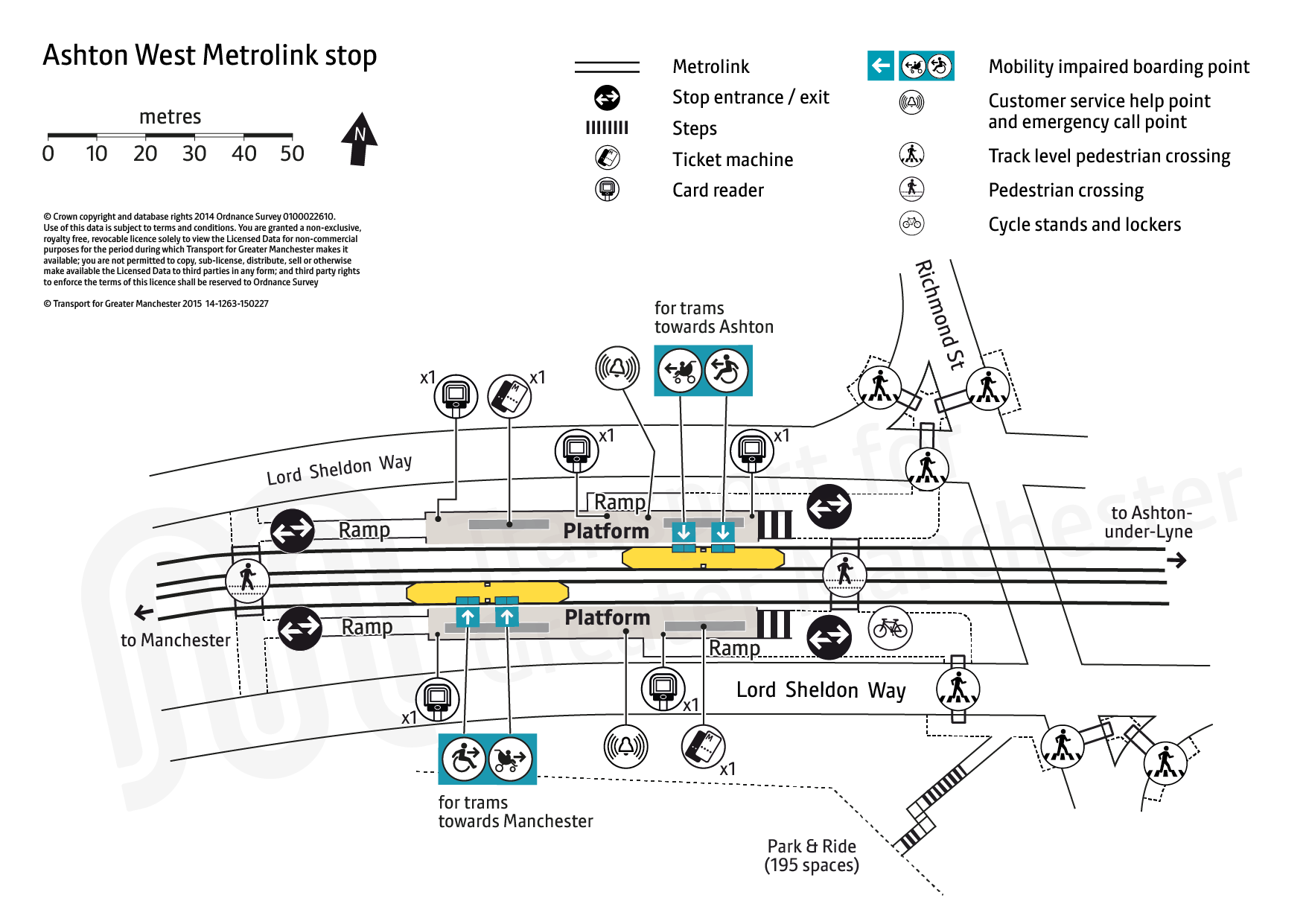 Stop map for Ashton West tram stop