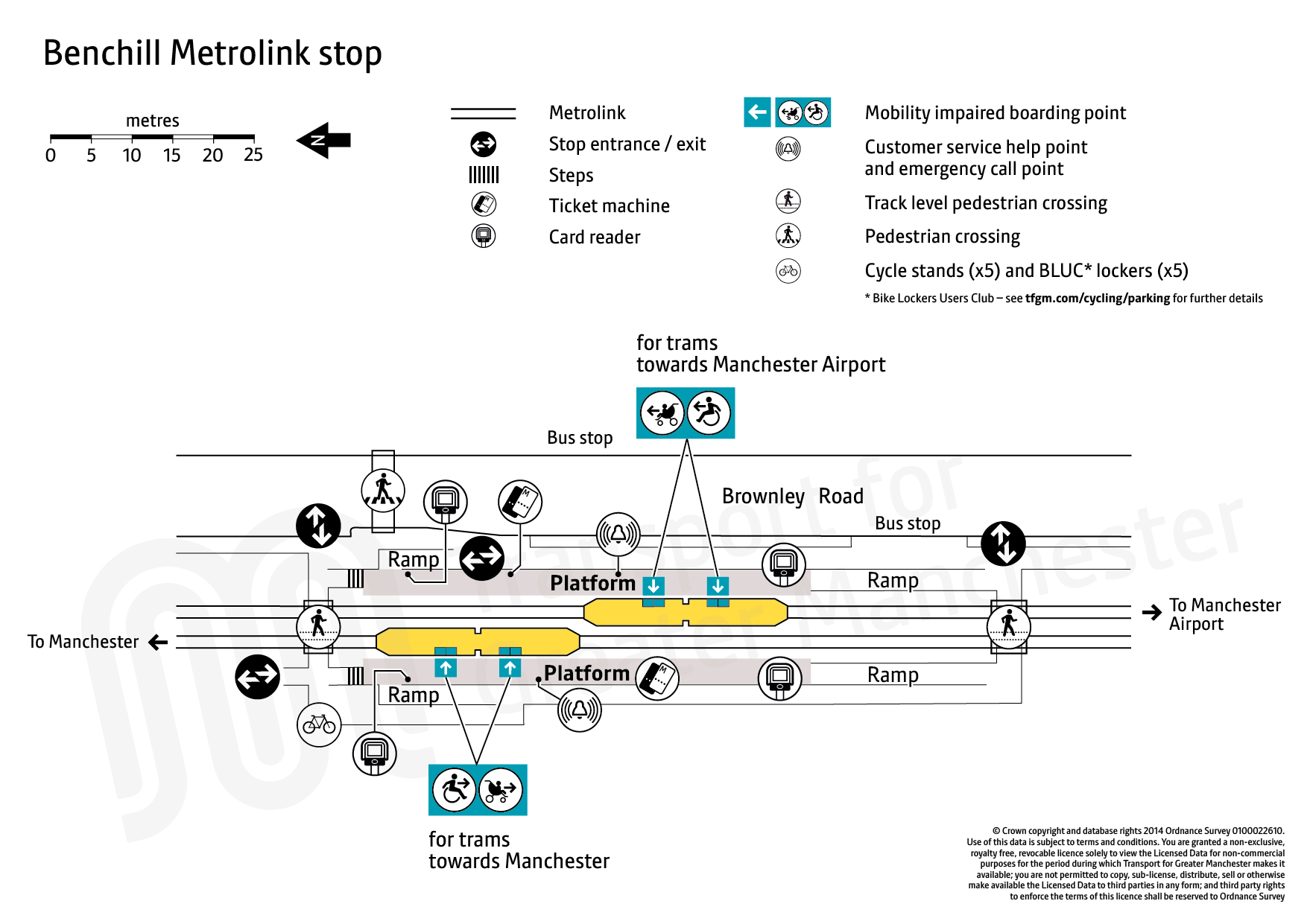 Stop map for Benchill tram stop