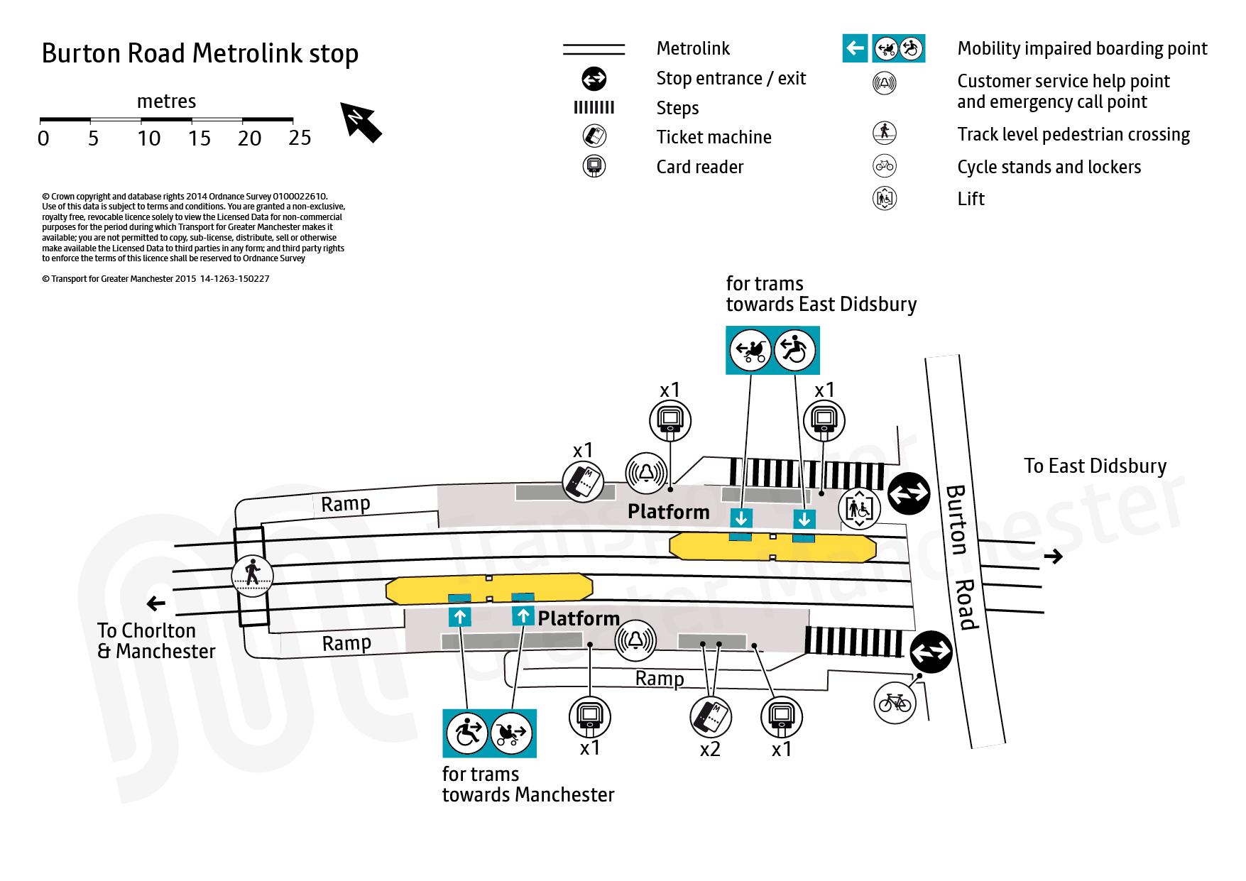 Stop map for Burton Road tram stop